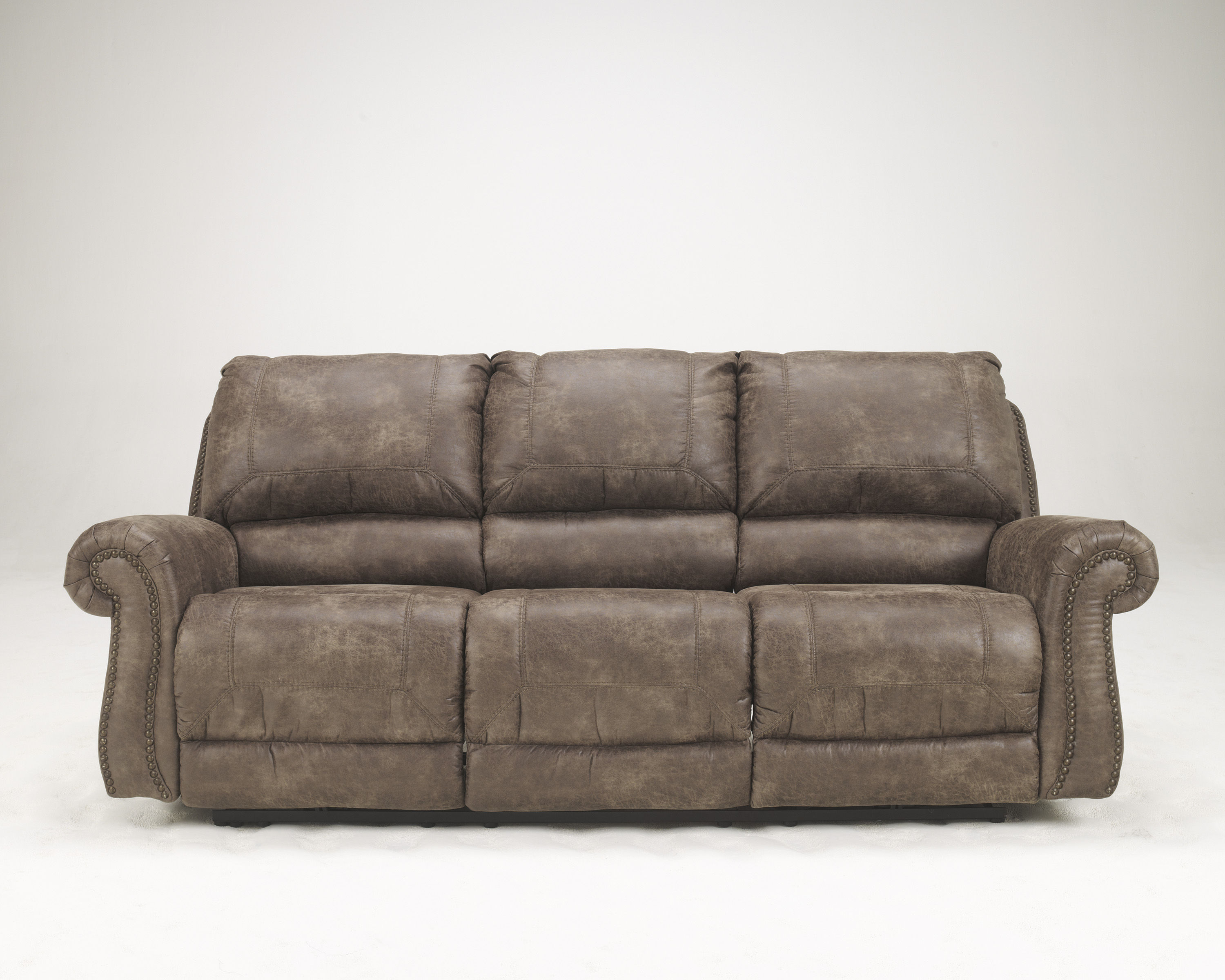 Oberson Contemporary Gunsmoke Fabric Reclining Sofa