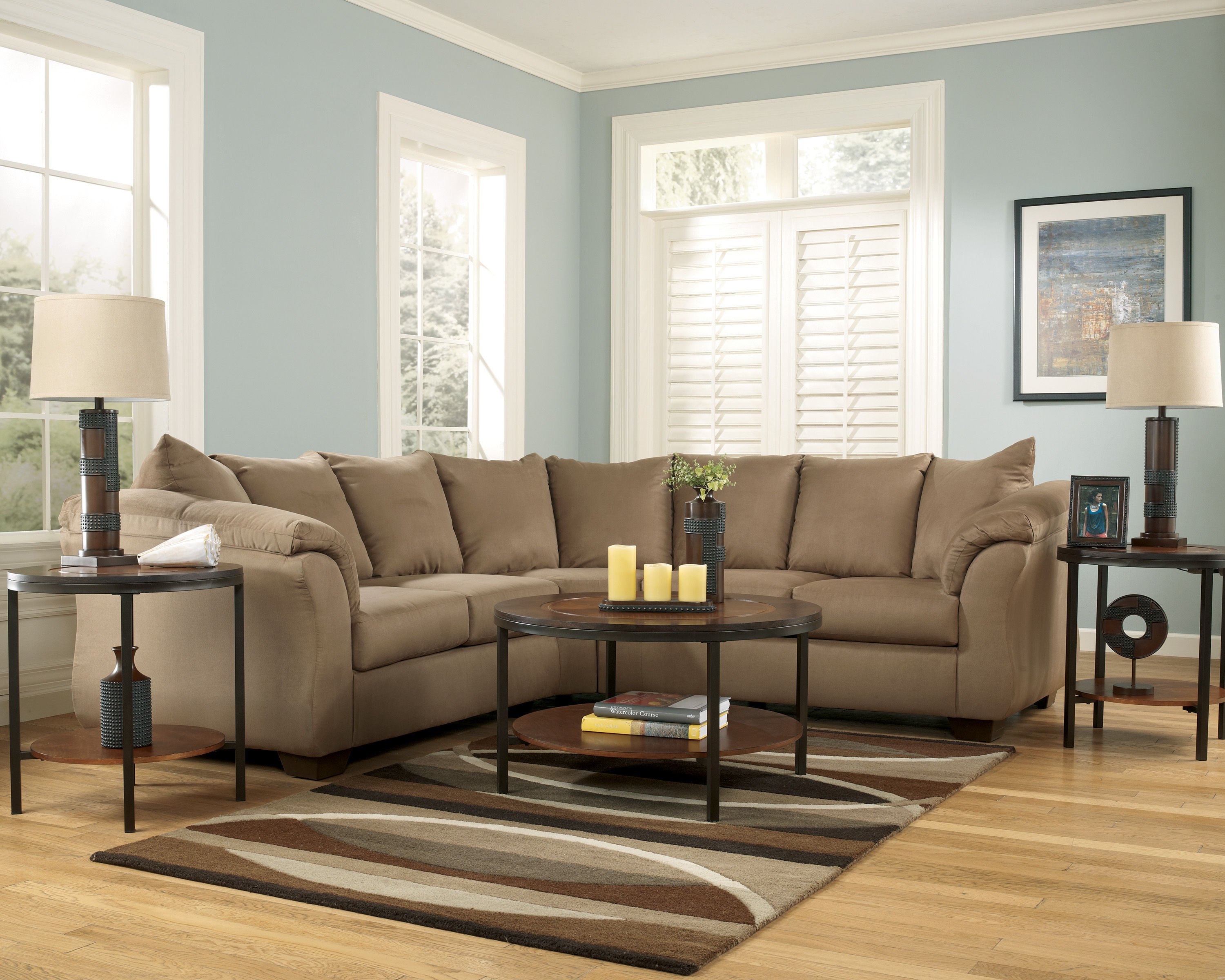Ashley furniture darcy mocha sectional the classy home for Ashley mocha sectional with chaise