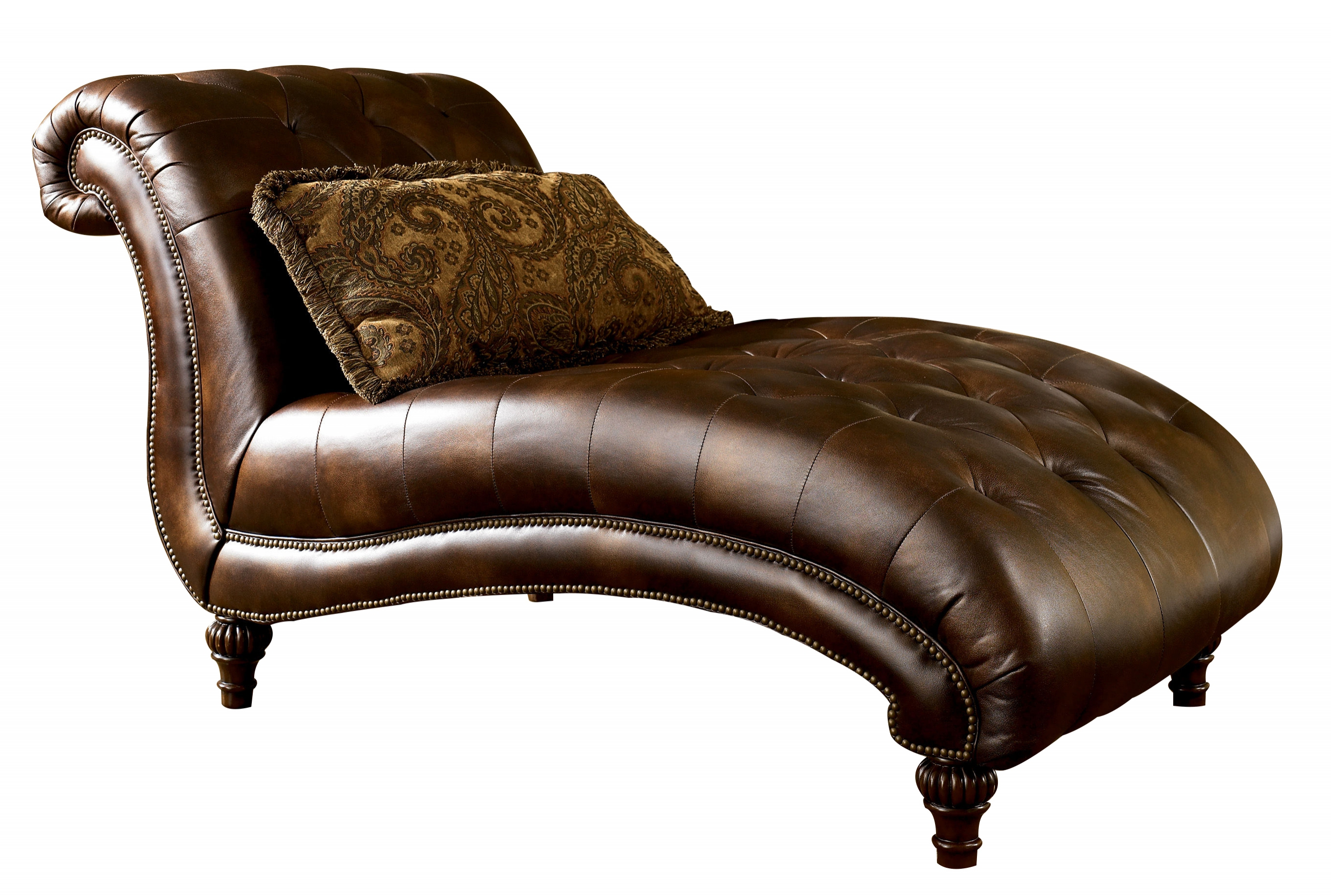 Traditional antique fabric claremore chaise lounge the for Ashley furniture chaise lounge