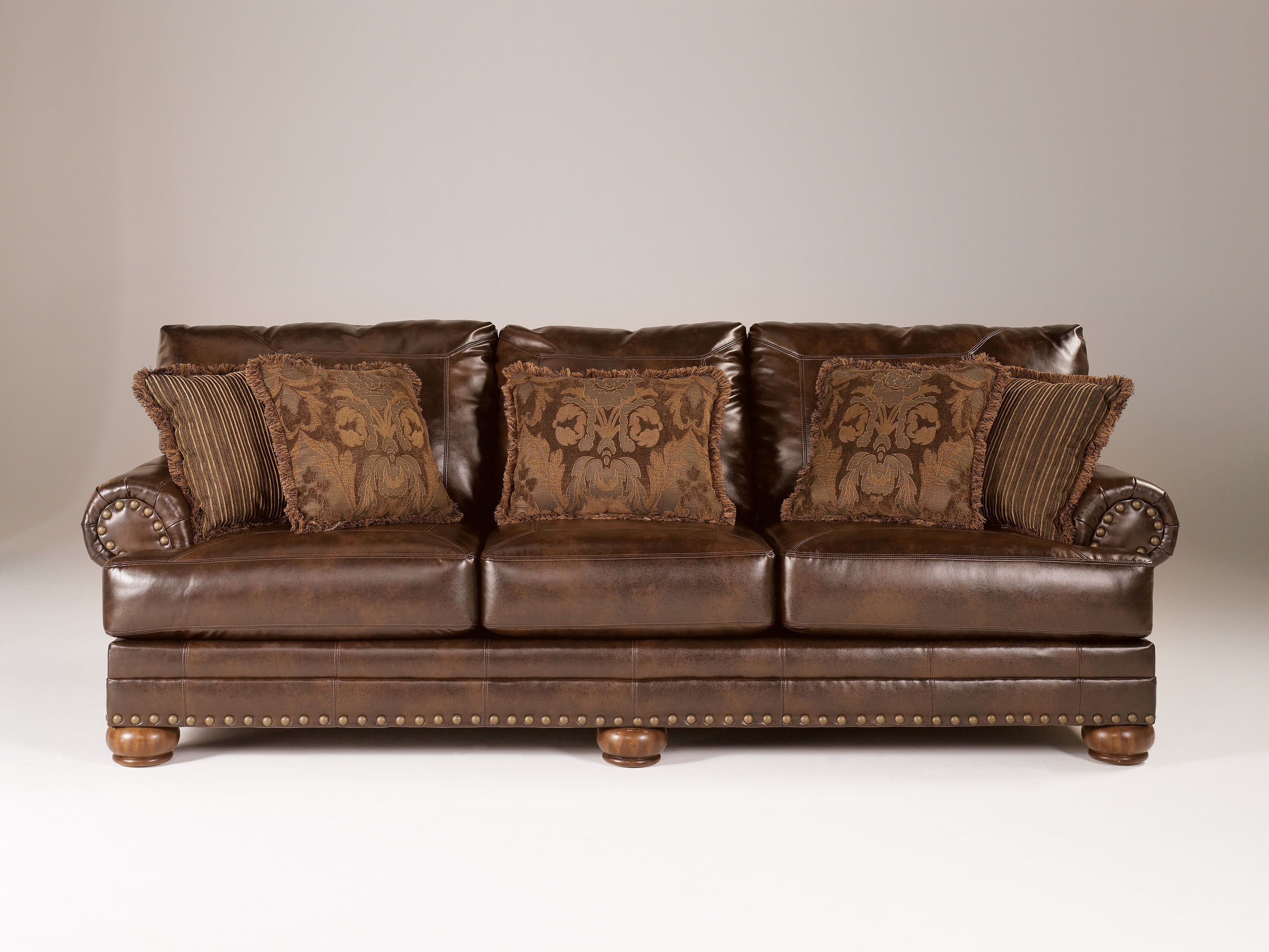 DuraBlend Traditional Antique Leather Sofa W Cushion Back