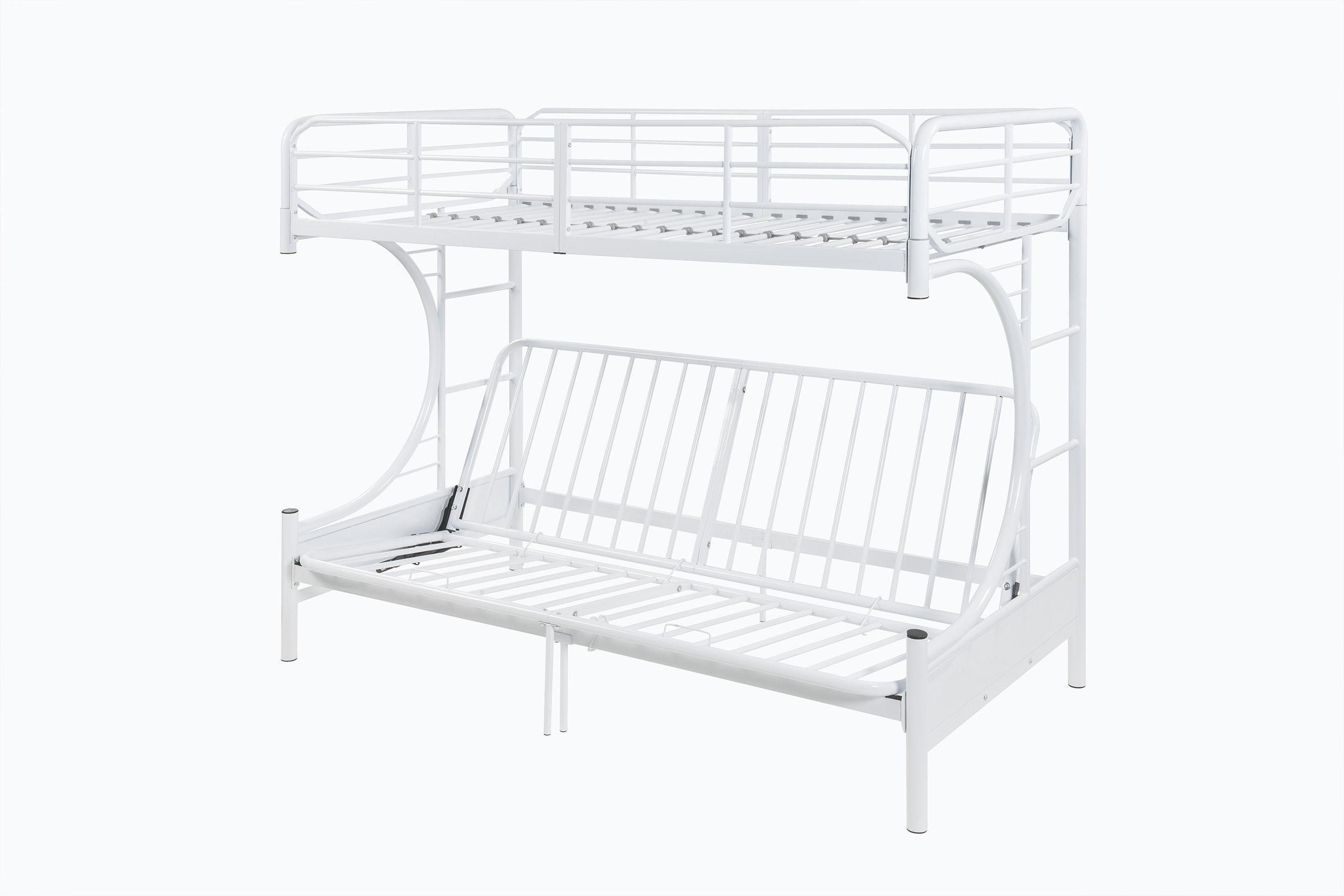 Eclipse White Metal Futon Bunk Bed