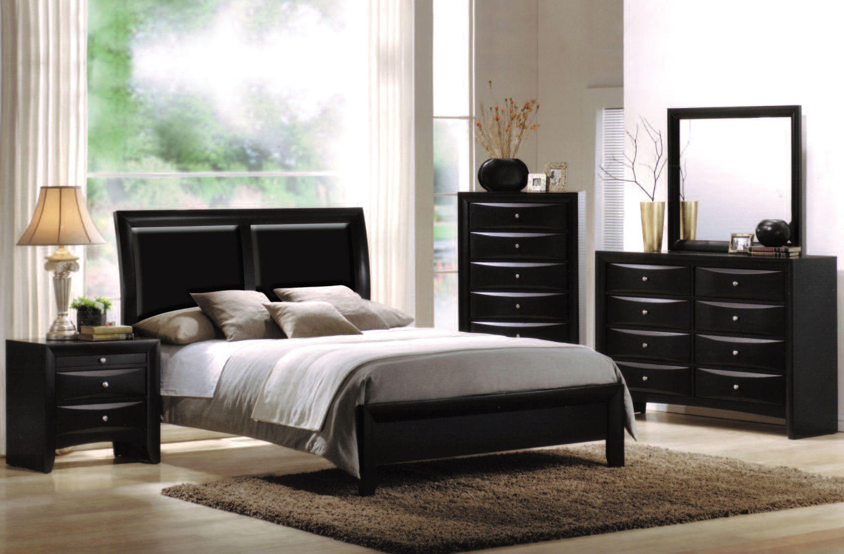 Contemporary Bedroom Set London Black By Acme Furniture: Acme Furniture Ireland Black 2pc Bedroom Set With Queen