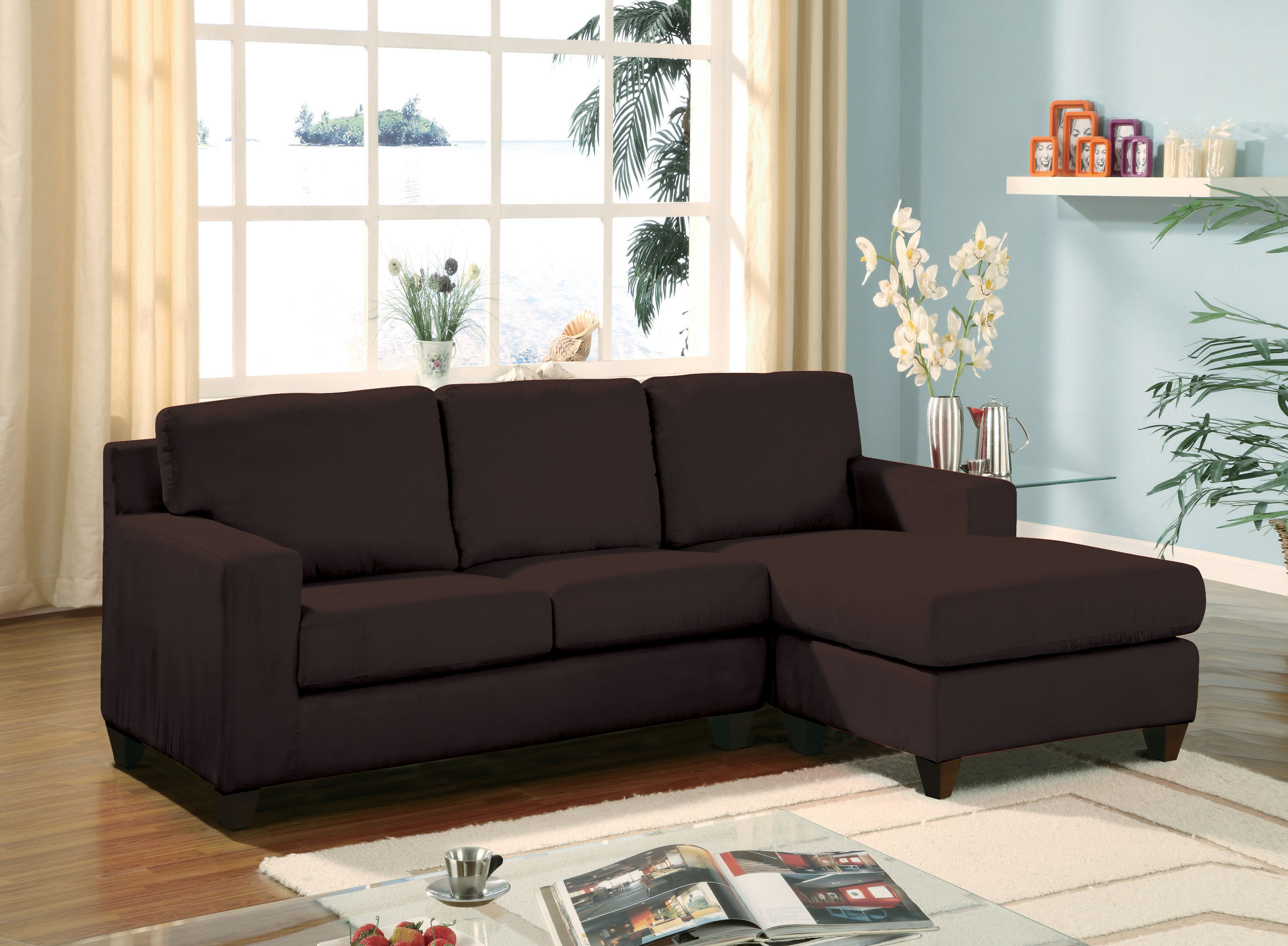 Vogue Chocolate Reversible Chaise Sectional New