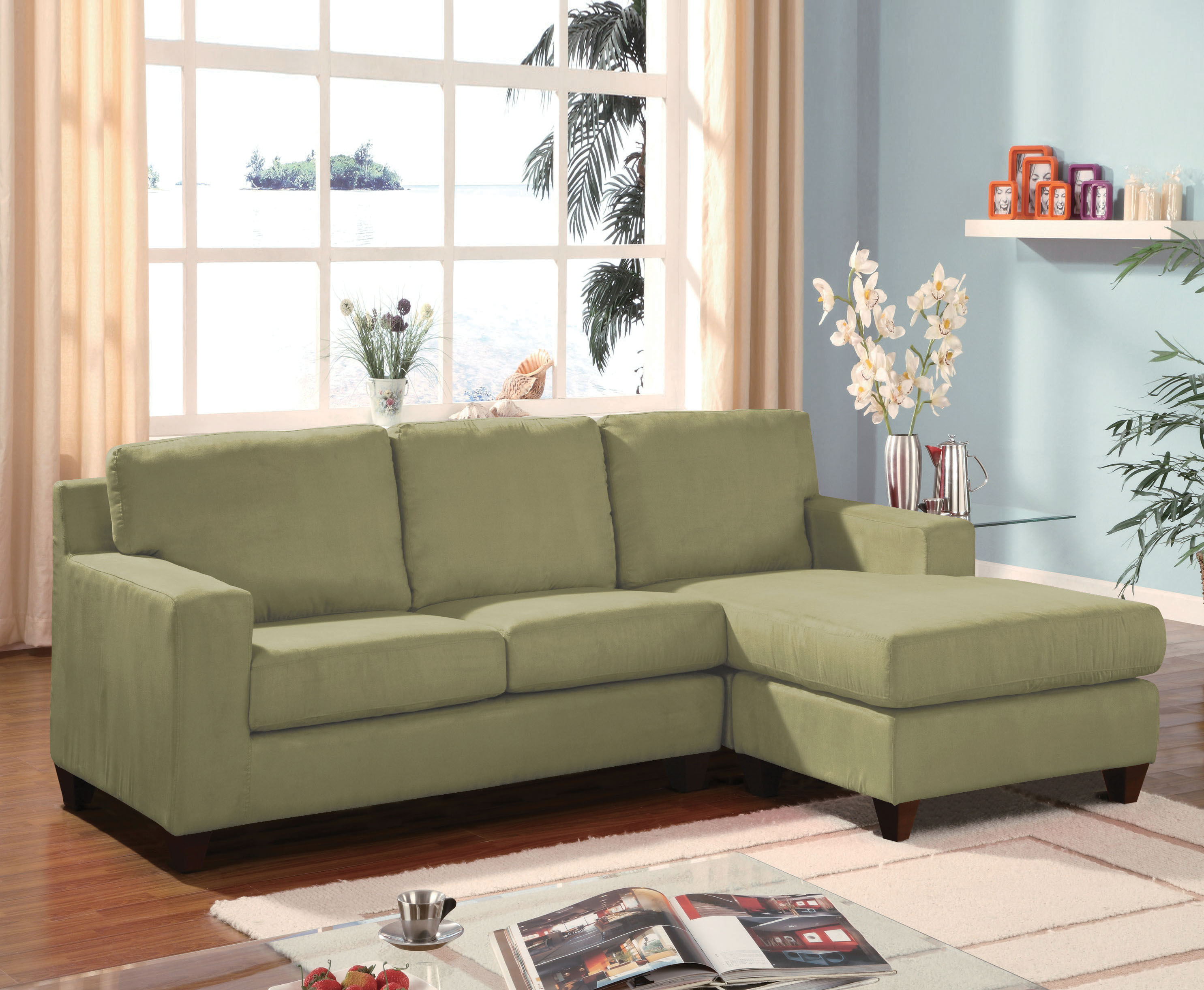 Acme Furniture Vogue Sage Reversible Chaise Sectional Sofa Click To Enlarge