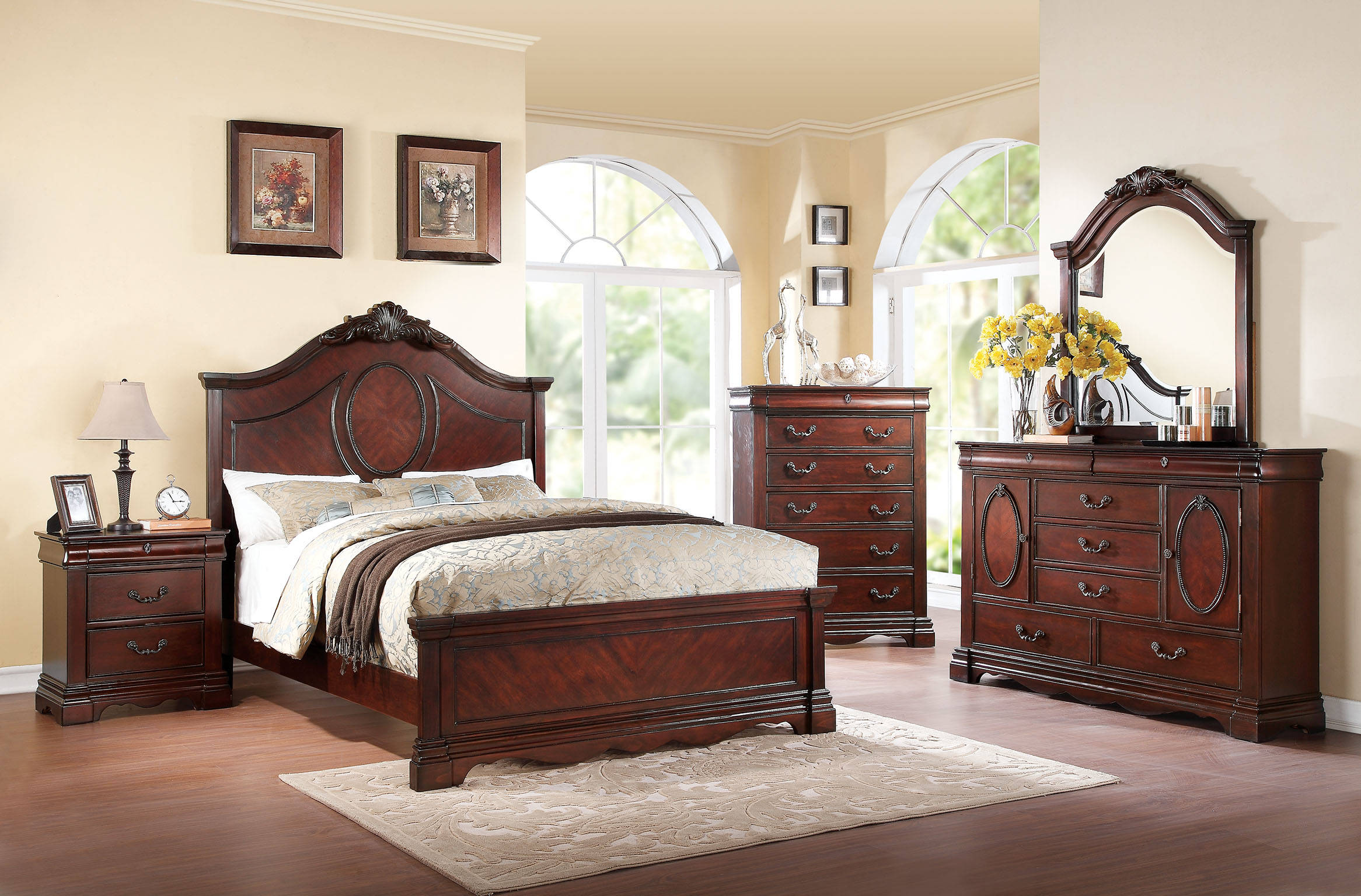 Estrella Traditional Dark Cherry Wood Master Bedroom Set Bedrooms The Classy Home Best