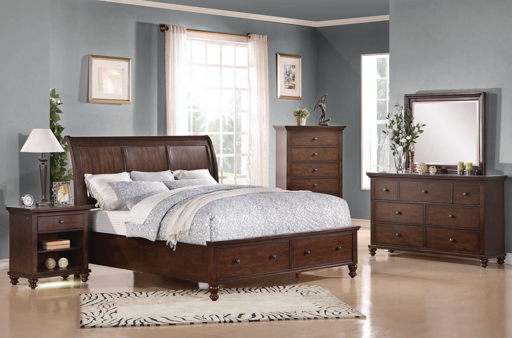 Aceline Coastal Brown Cherry Wood Master Bedroom Set The Classy Home