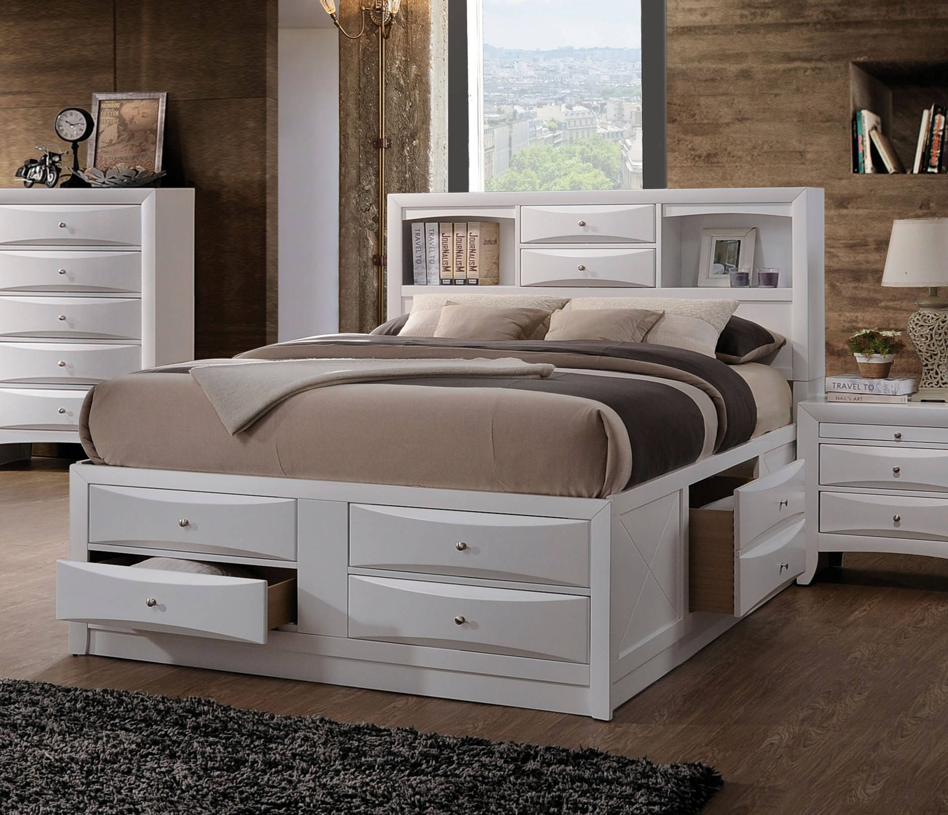 Acme Furniture Ireland White Queen Storage Bed Click To Enlarge ... & Acme Furniture Ireland White Queen Storage Bed | The Classy Home