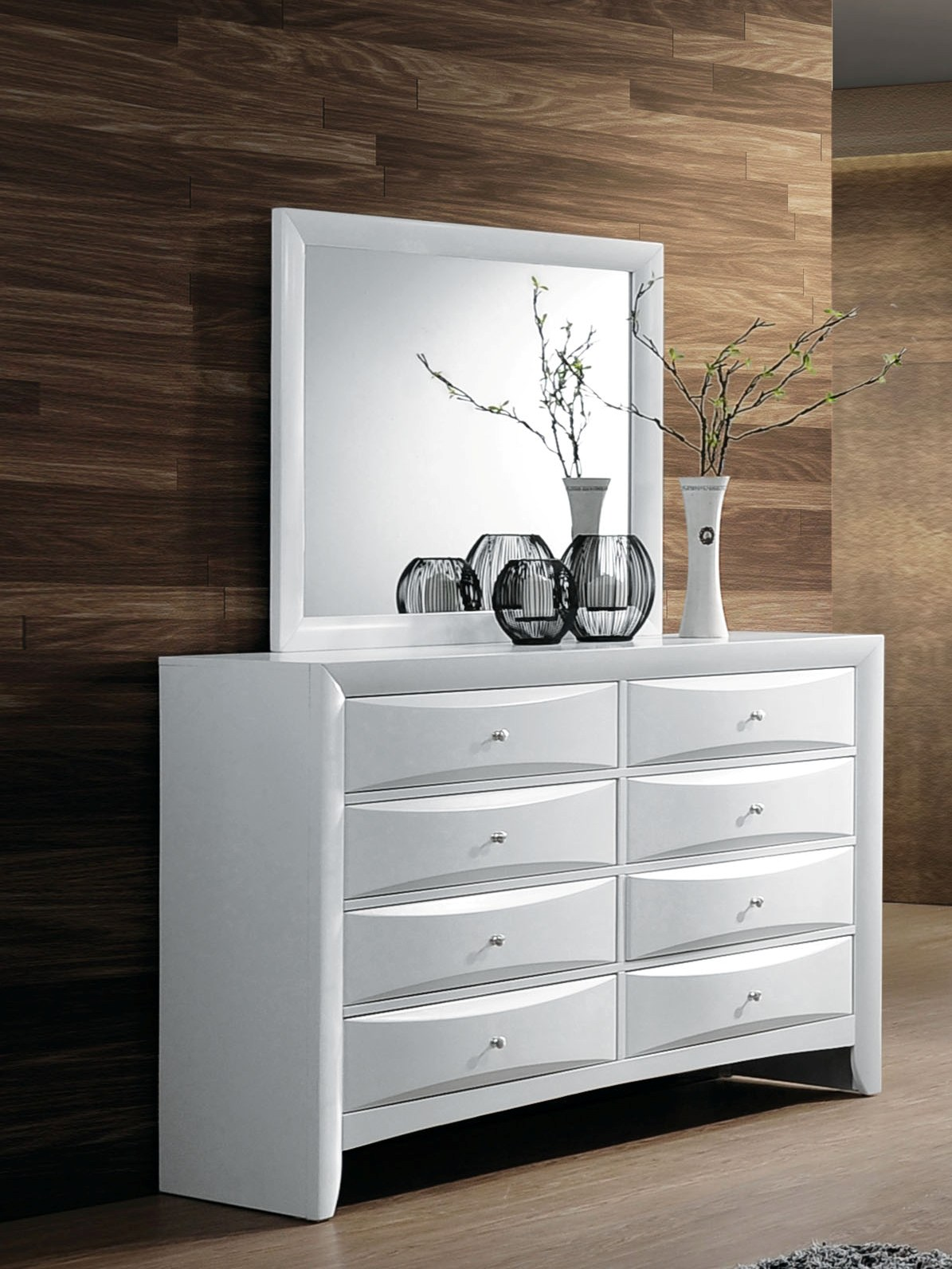 Acme Furniture Ireland White Dresser And Mirror The