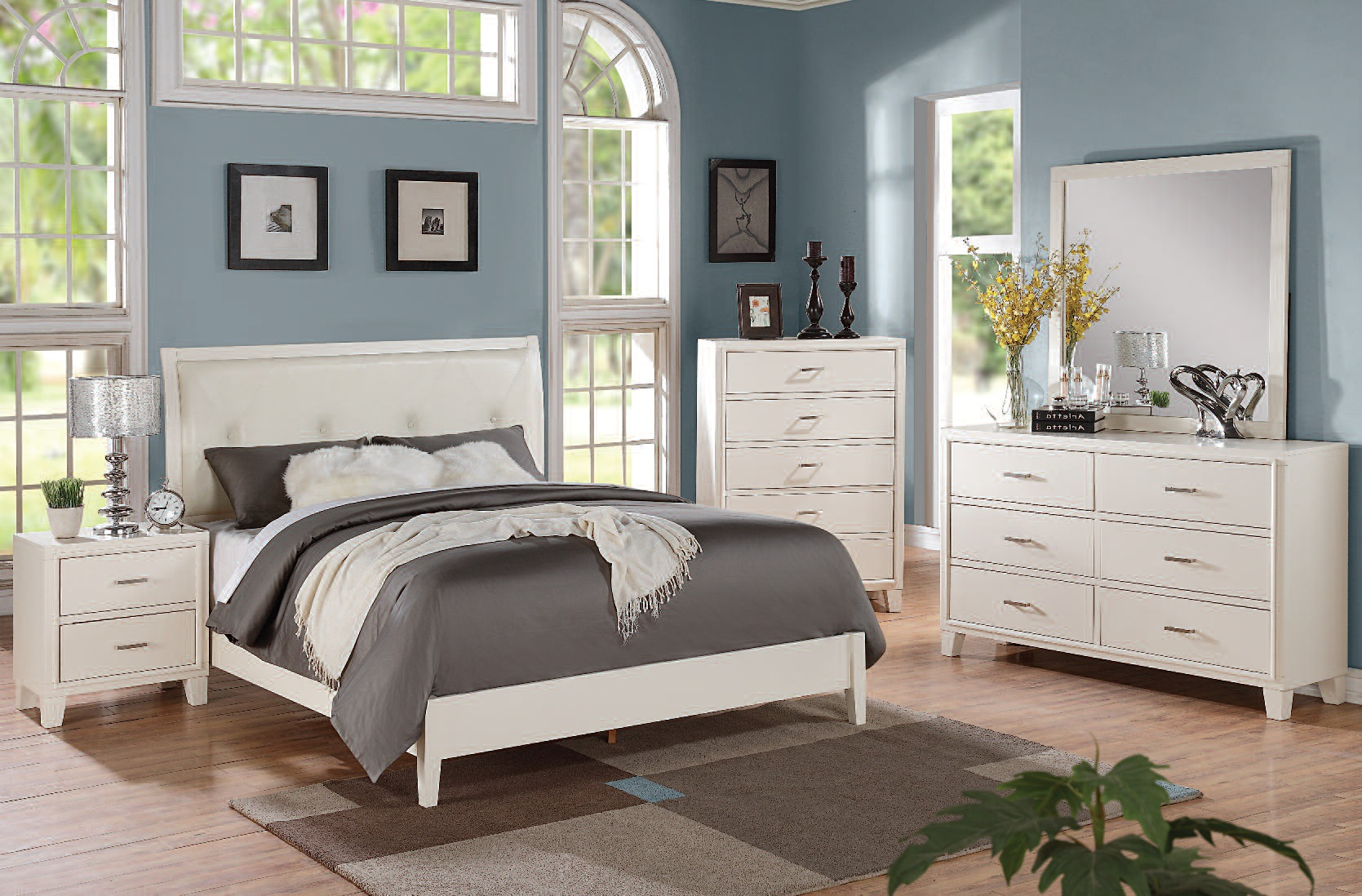 Tyler Contemporary Faux Leather Cream Wood Master Bedroom Set The Classy Home