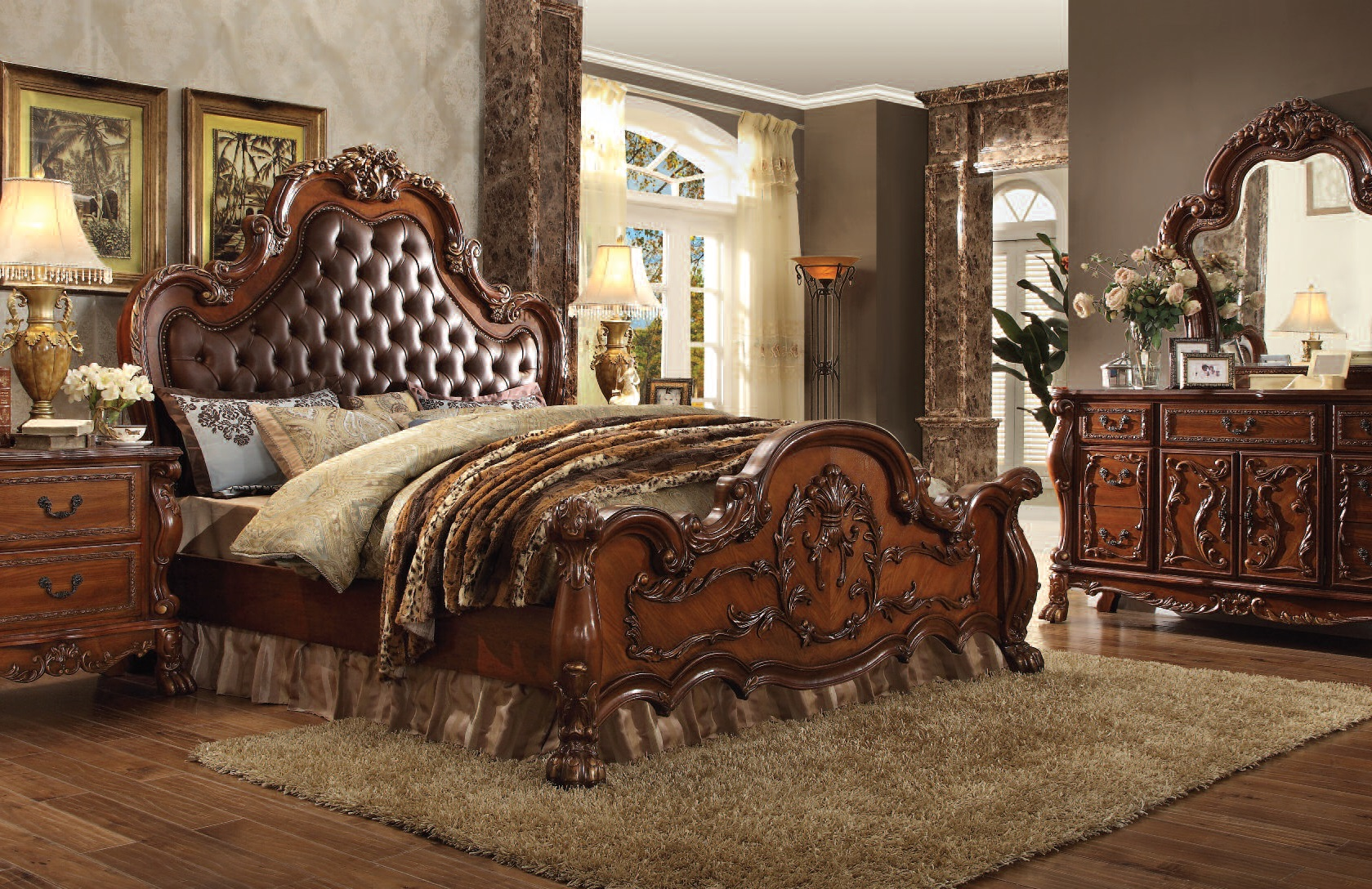 Dresden Cherry Oak Wood 5pc Bedroom Set W Cal King Bed The Classy Home