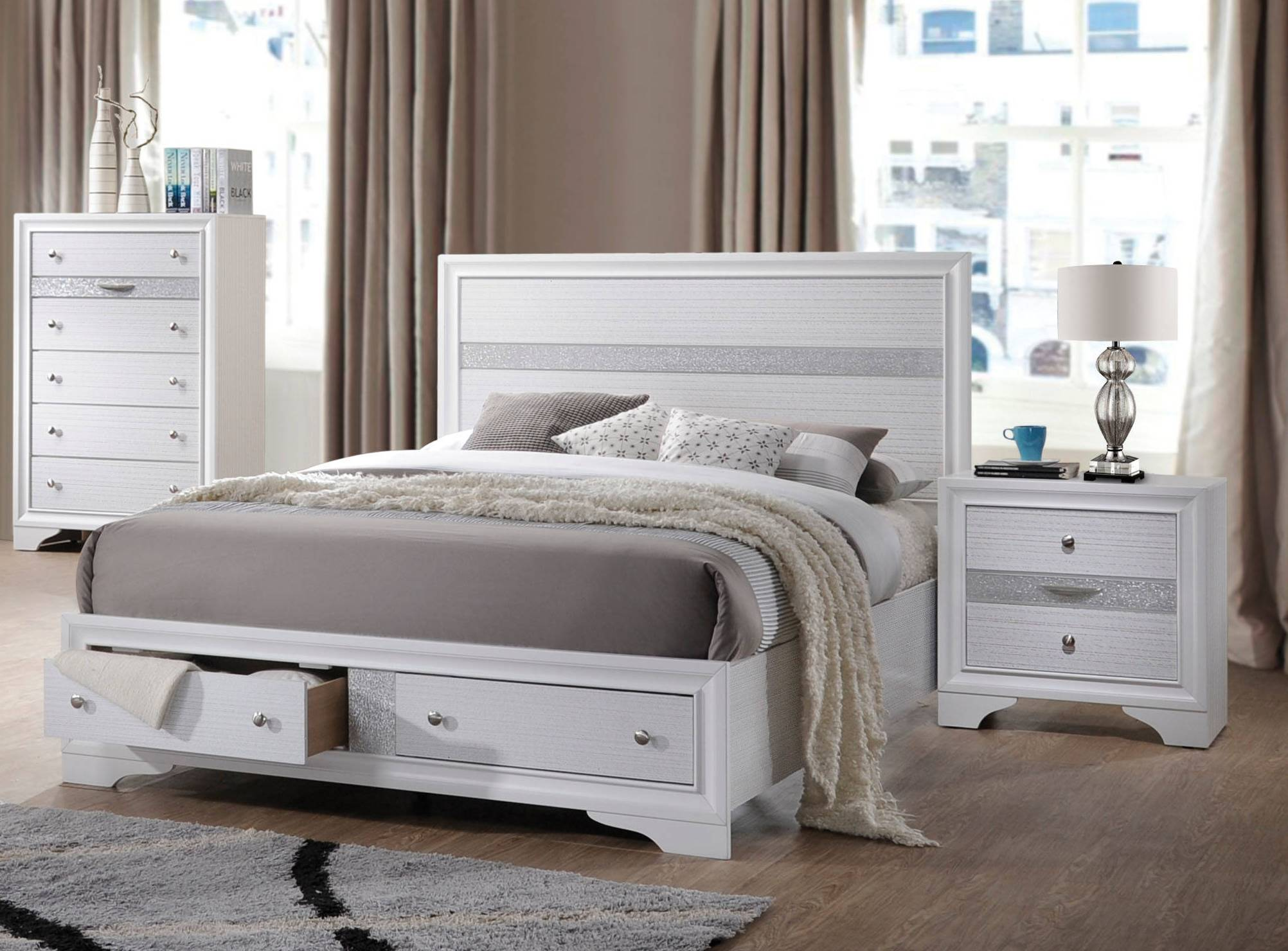 Acme Furniture Naima White 2pc Bedroom Set With Queen Bed