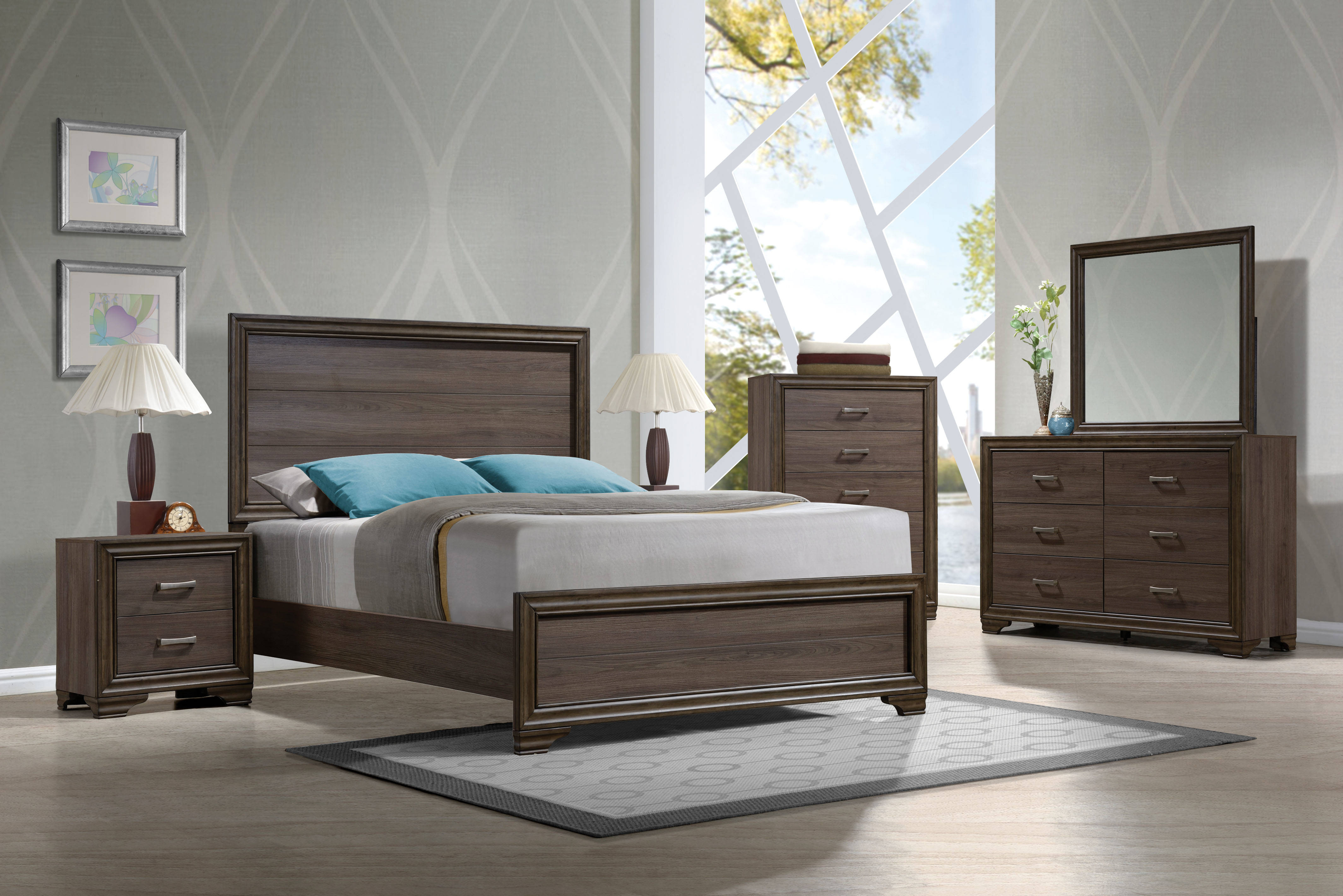 Cyrille Contemporary Walnut Solid Wood 5pc Bedroom Set W Cal King Bed The Classy Home