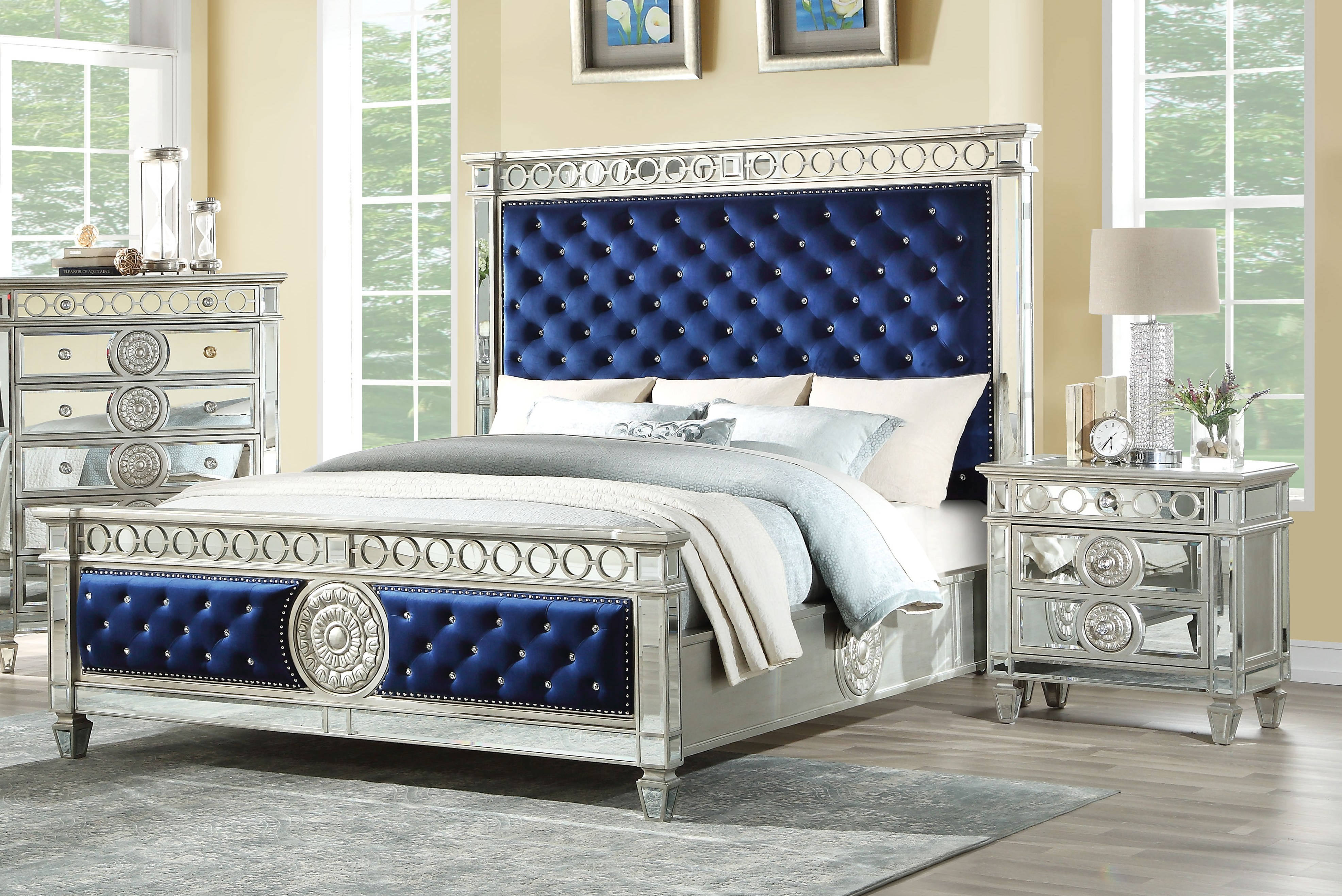 Acme Furniture Varian Blue Silver 2pc Bedroom Set with Queen ...