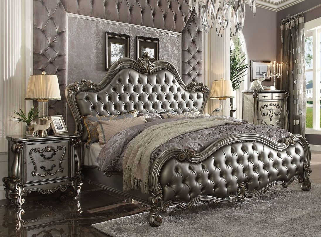 Acme Furniture Versailles II Silver Antique 2pc Bed Set with Cal King Bed