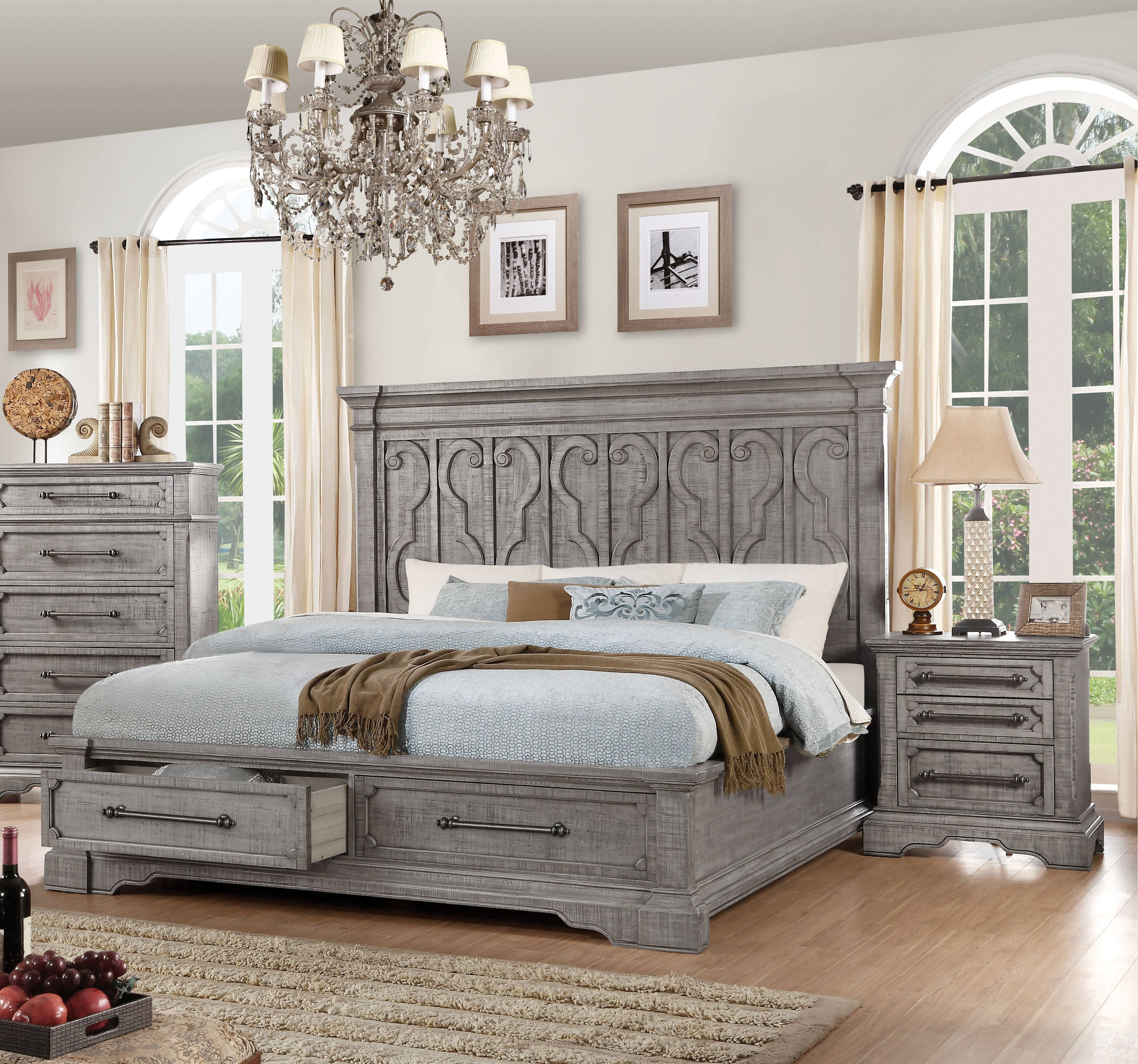 Acme Furniture Artesia Salvaged Natural 2pc Bedroom Set with Cal King  Storage Bed