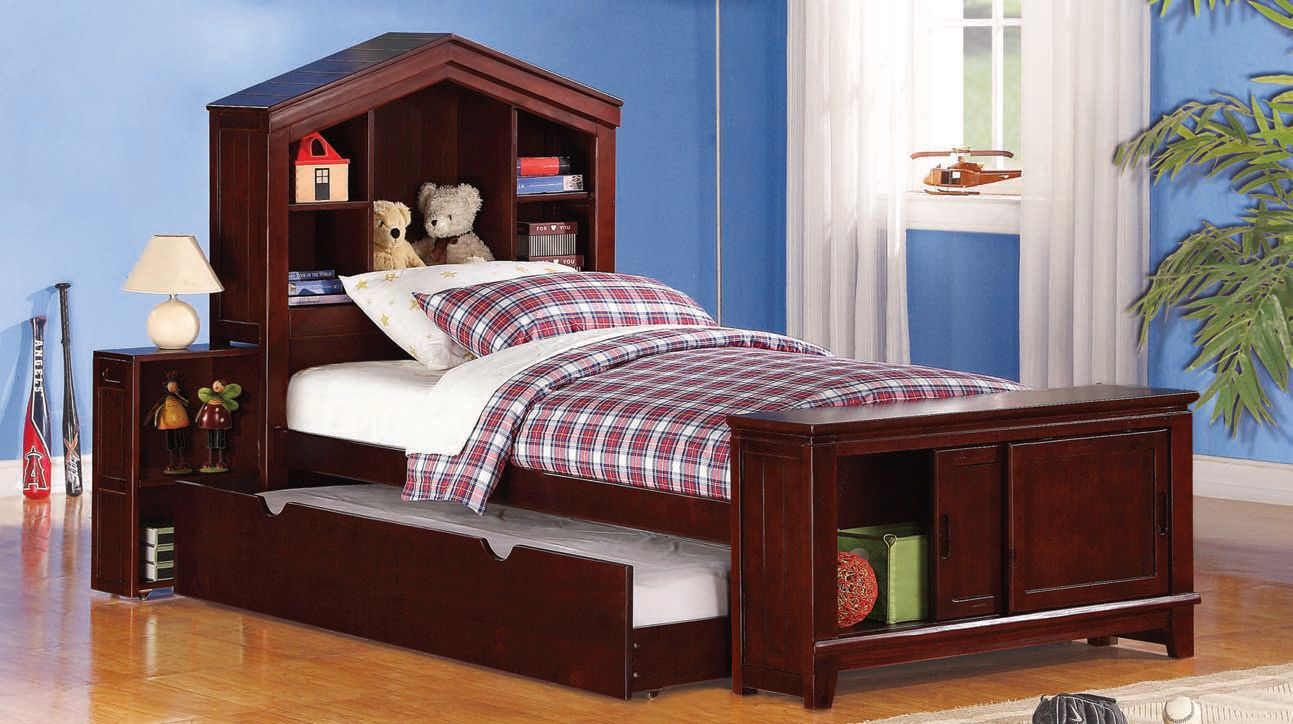 Bale Espresso Twin Bed W Built In Nightstand Storage Trundle