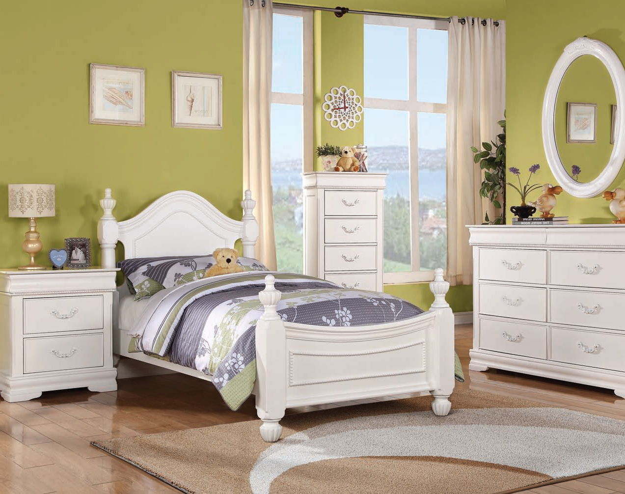 Classique youth white wood master bedroom set bedrooms for Good deals on bedroom sets