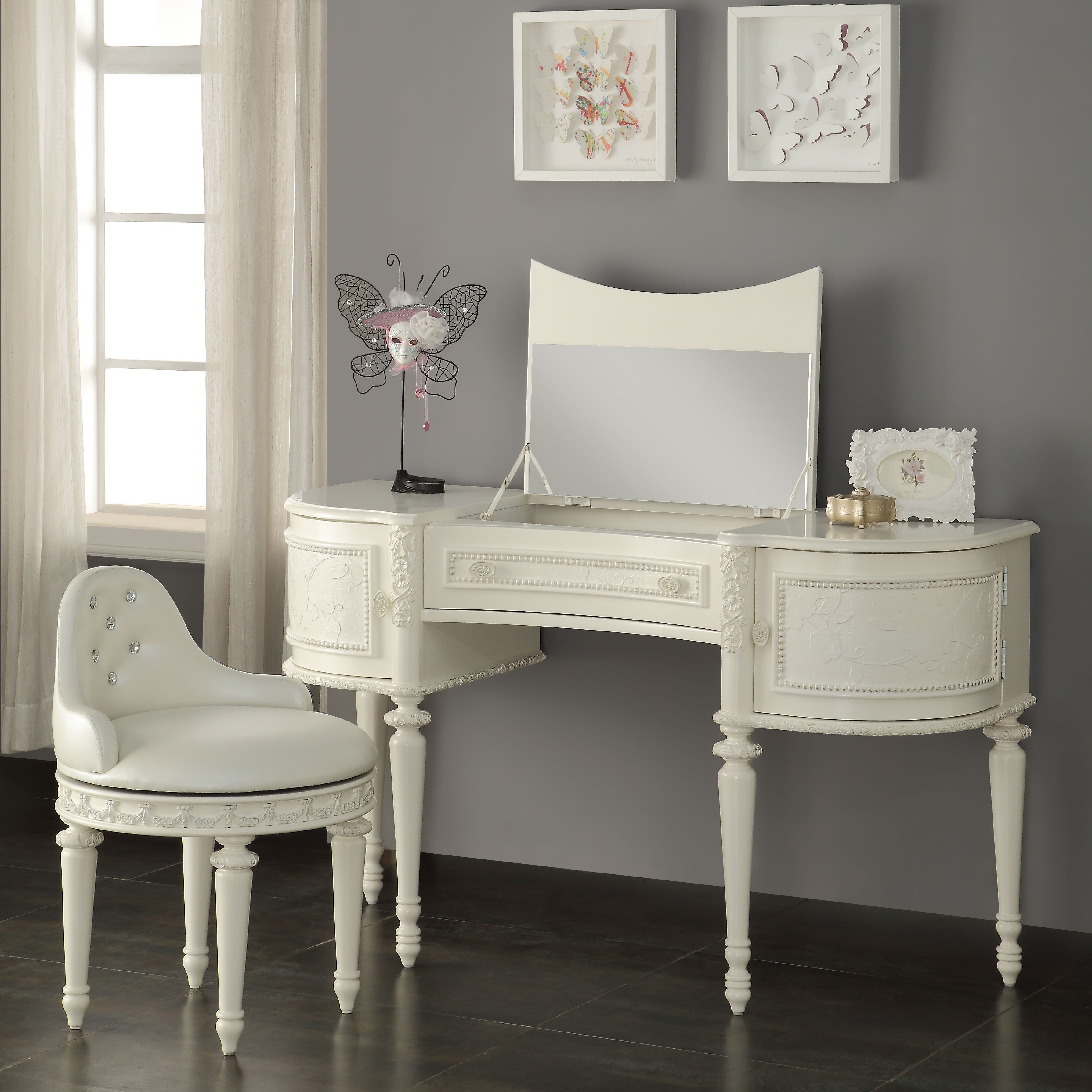Acme Furniture Dorothy Ivory Vanity Set The Classy Home