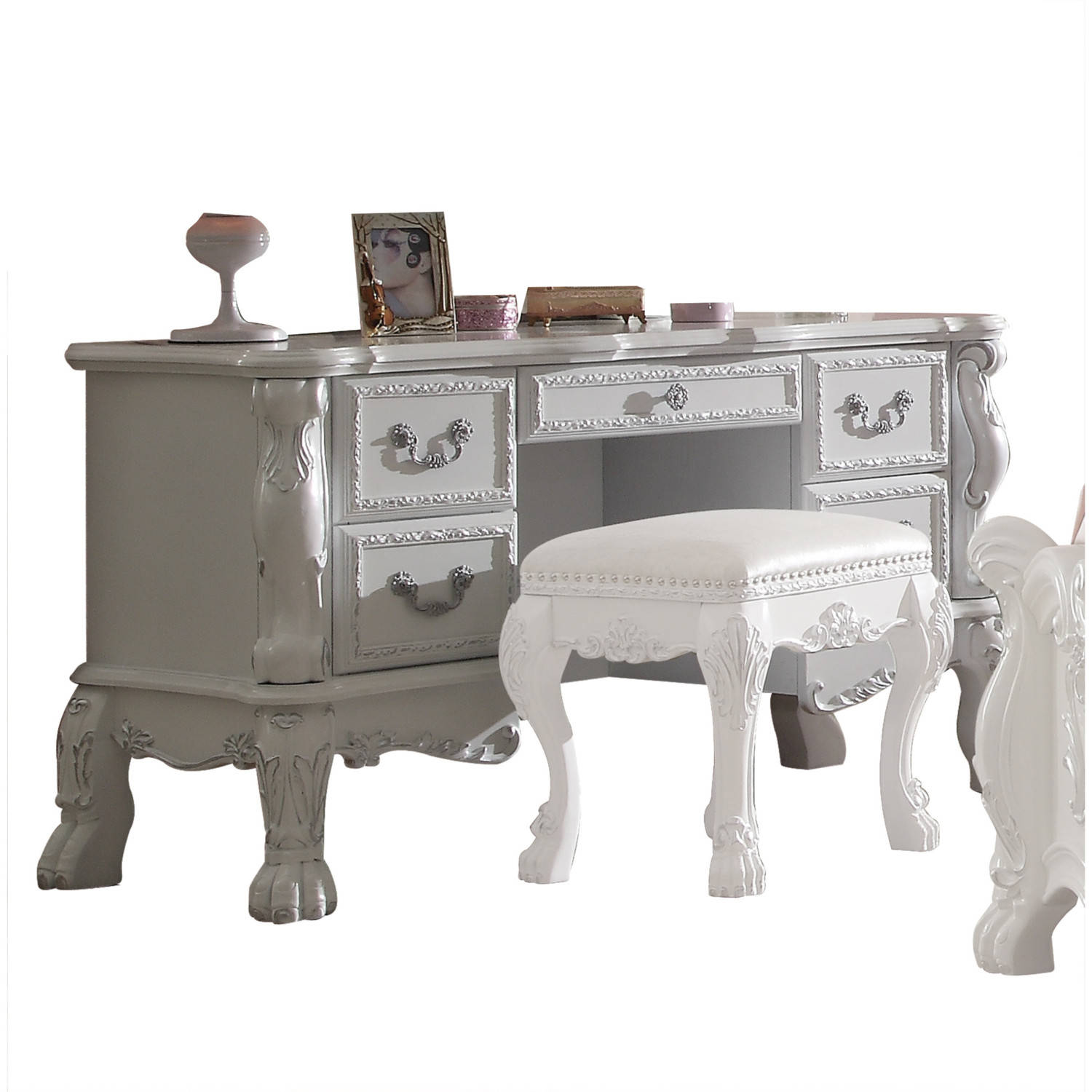 Acme Furniture Dresden Antique White Vanity Desk Click To Enlarge ... - Acme Furniture Dresden Antique White Vanity Desk The Classy Home