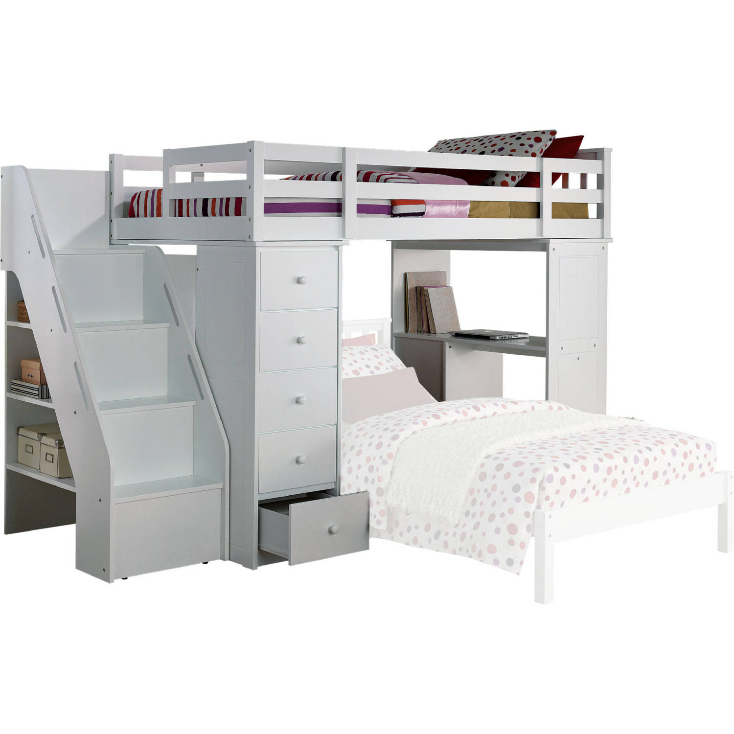 Acme Furniture Freya White Loft Bed And Bookcase Ladder