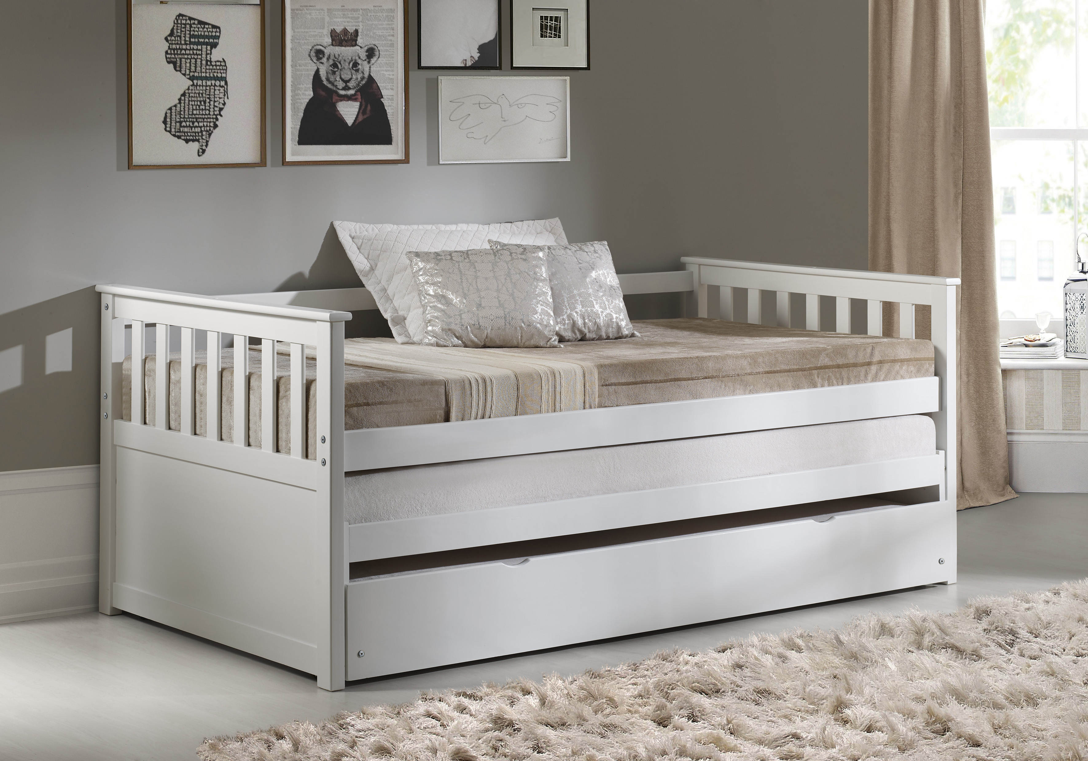Acme Furniture Cominia White Trundle Day Bed The Classy Home