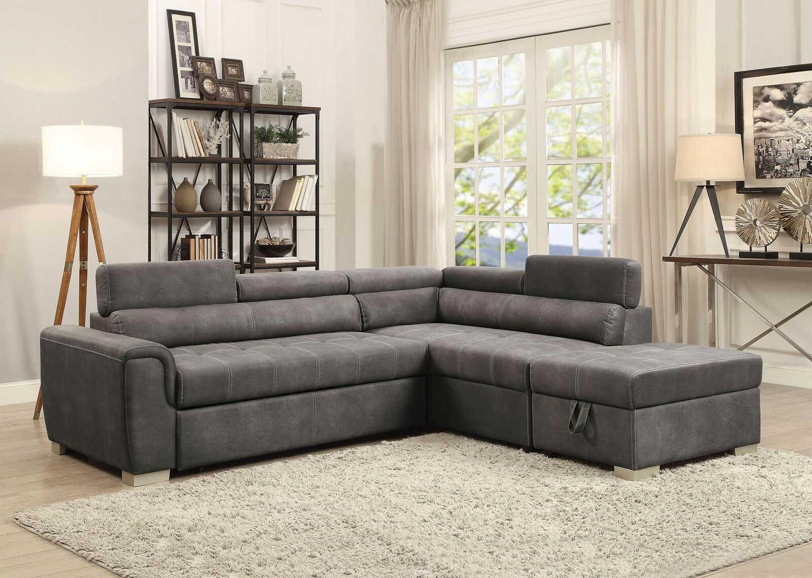 Acme Furniture Thelma Gray Polished Sectional Sofa Sleeper and Ottoman
