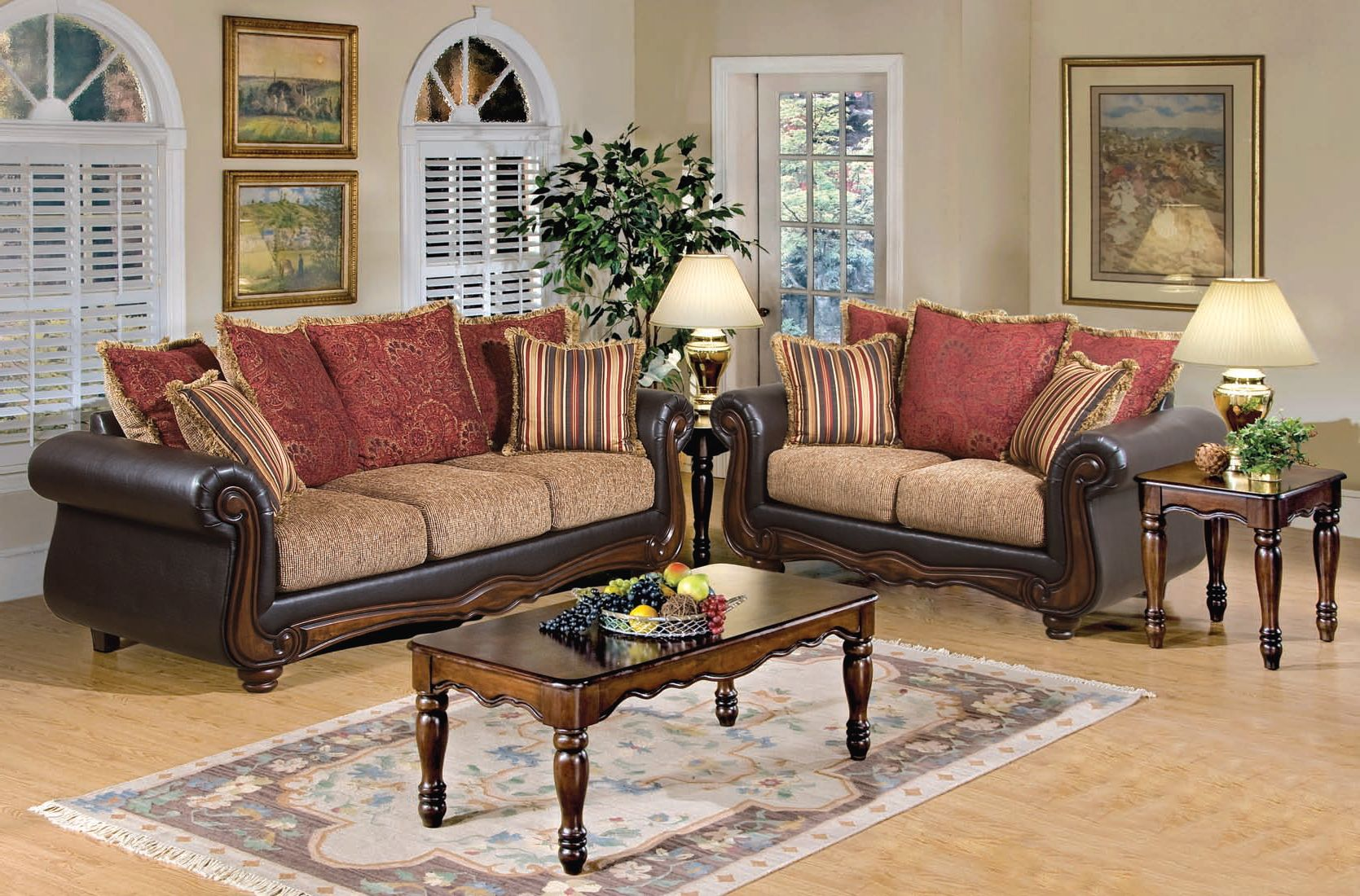 Olysseus brown floral fabric wood living room set the Floral living room furniture sets