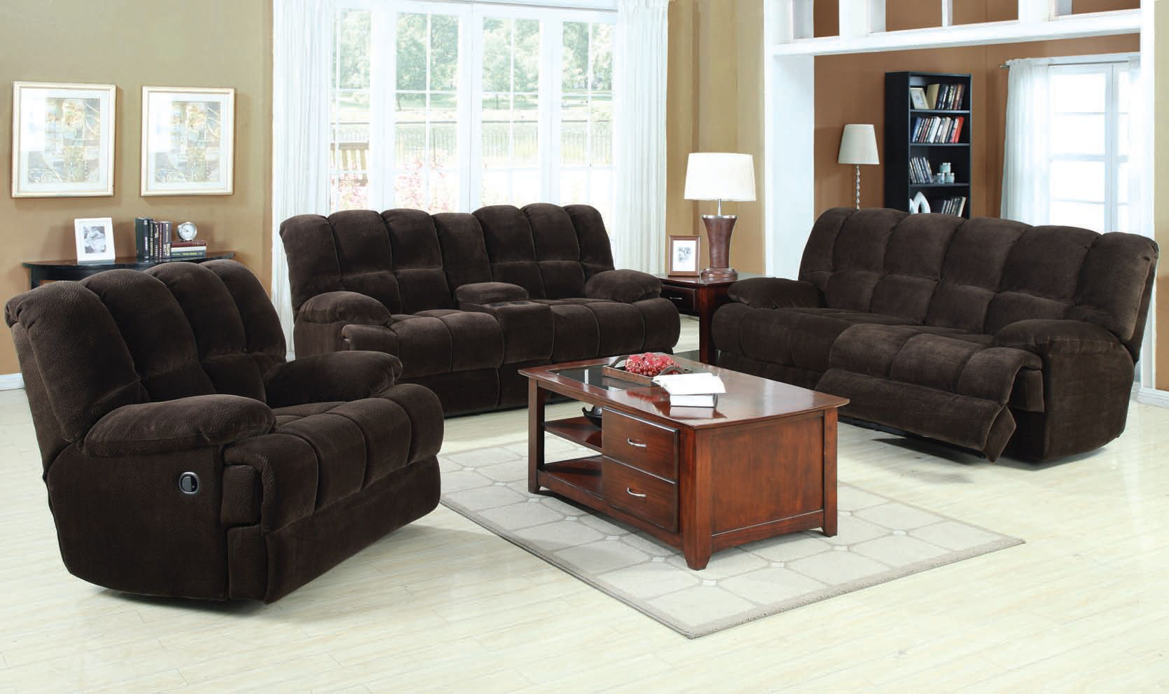 Ahearn casual chocolate fabric wood living room sets for Best deals on living room furniture sets