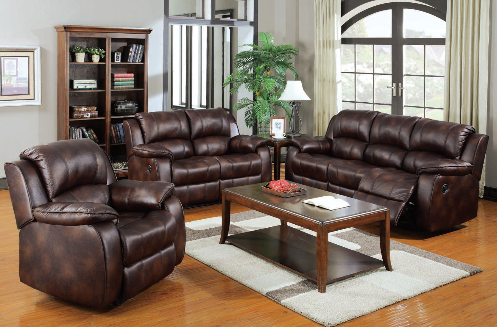 Zanthe brown suede wood cushion back living room set - Brown suede living room furniture ...