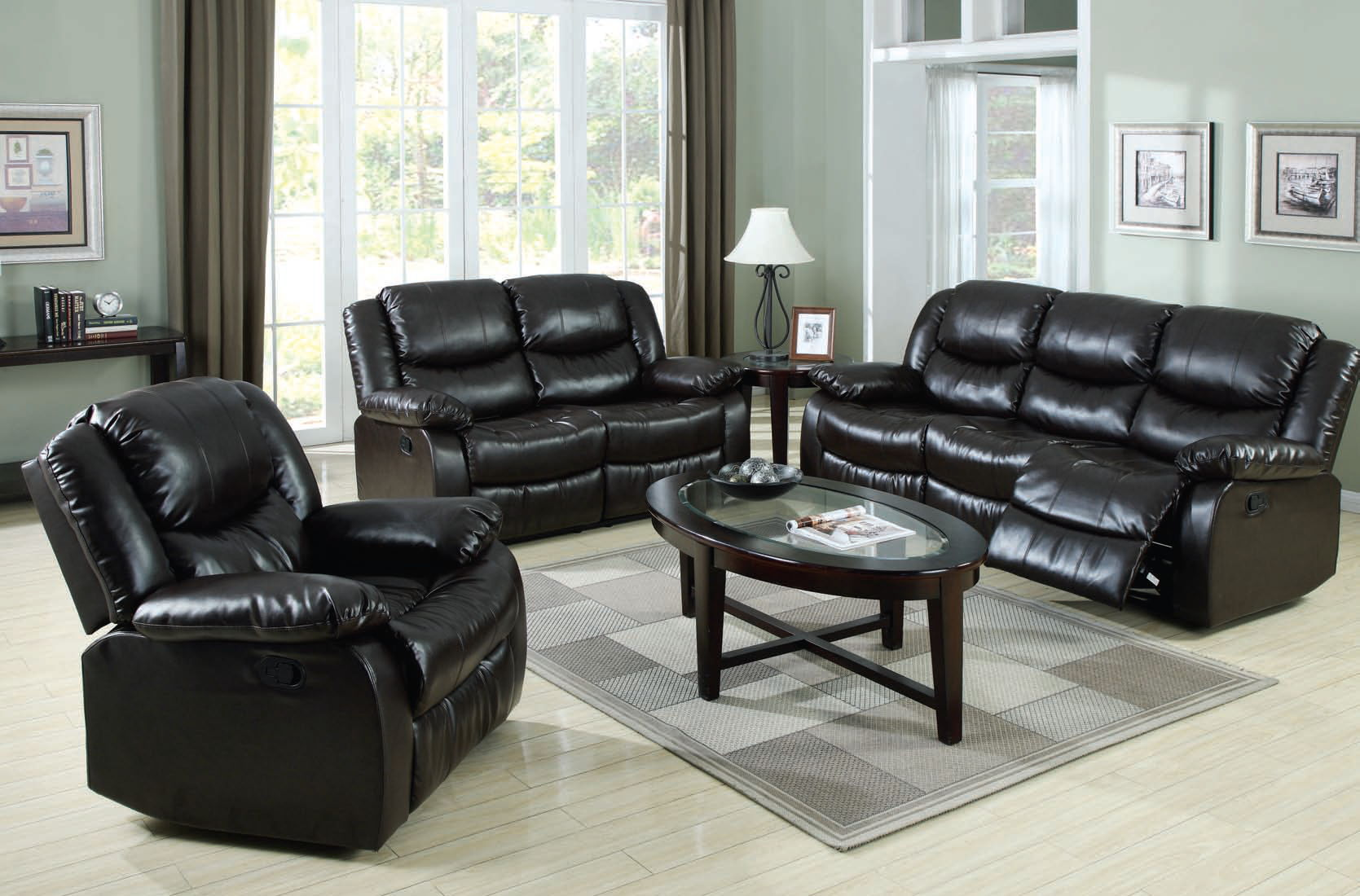 Fullerton Espresso Leather Living Room Sets The Classy Home