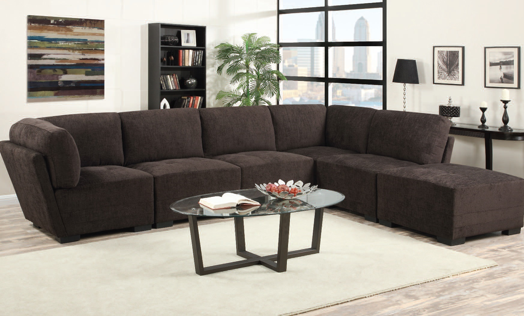 Freddie Violet Chenille Sectional Sofa wOttoman The  : ACM 51805 from www.theclassyhome.com size 1746 x 1053 jpeg 410kB