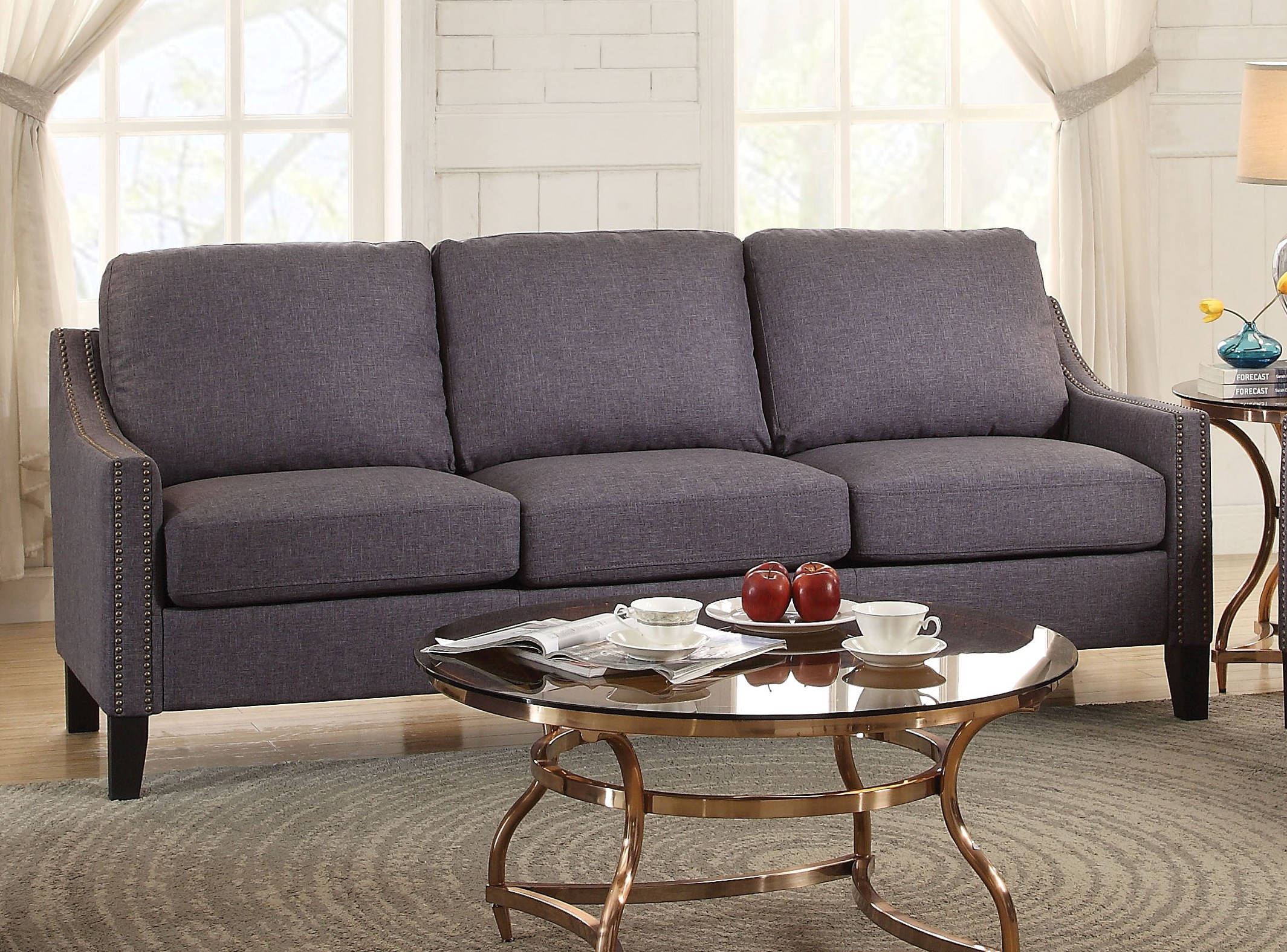 Zapata Contemporary Gray Fabric Wood Sofa Living Rooms