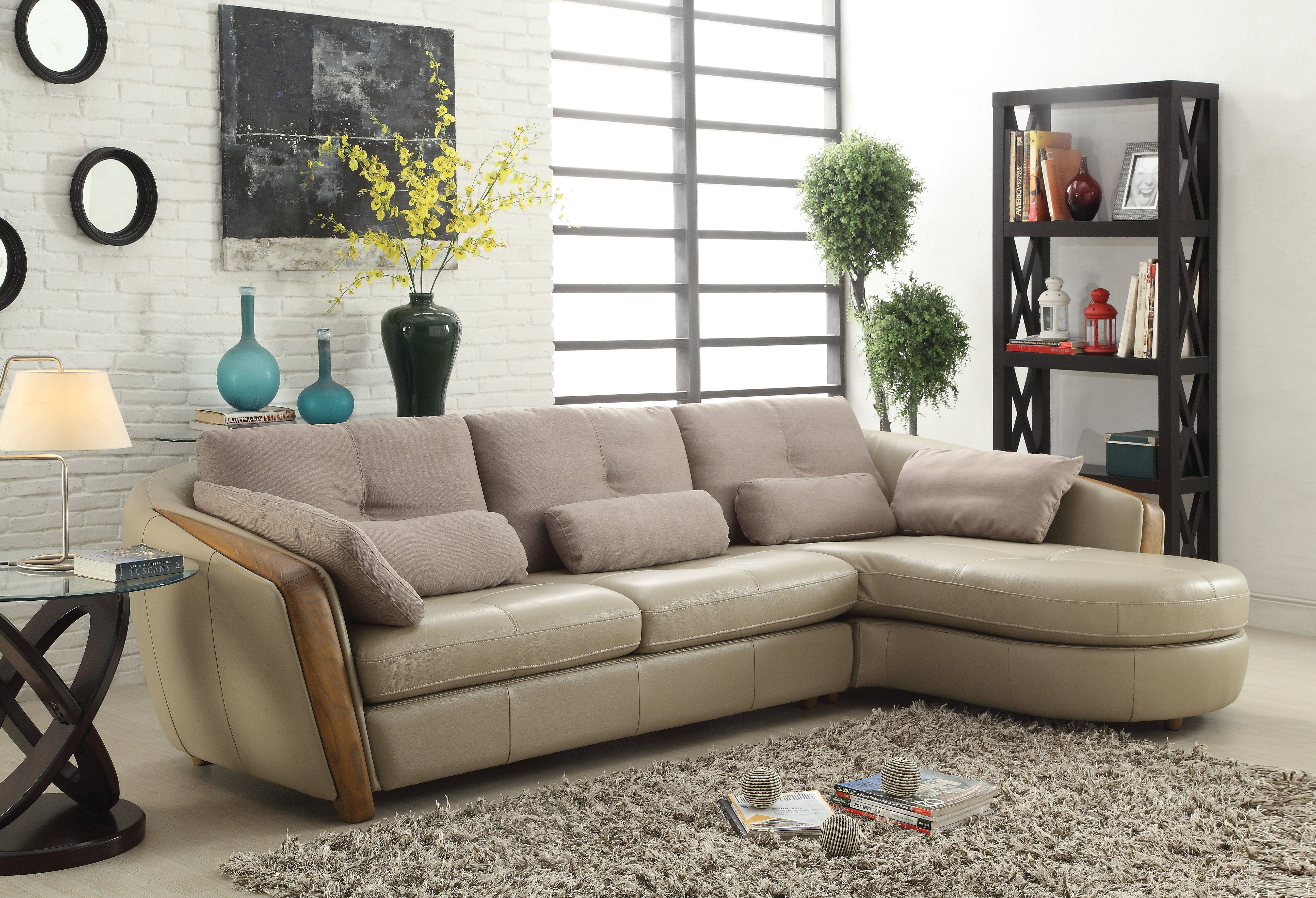 Acme Furniture Wilko Taupe Sectional Sofa With Pillows