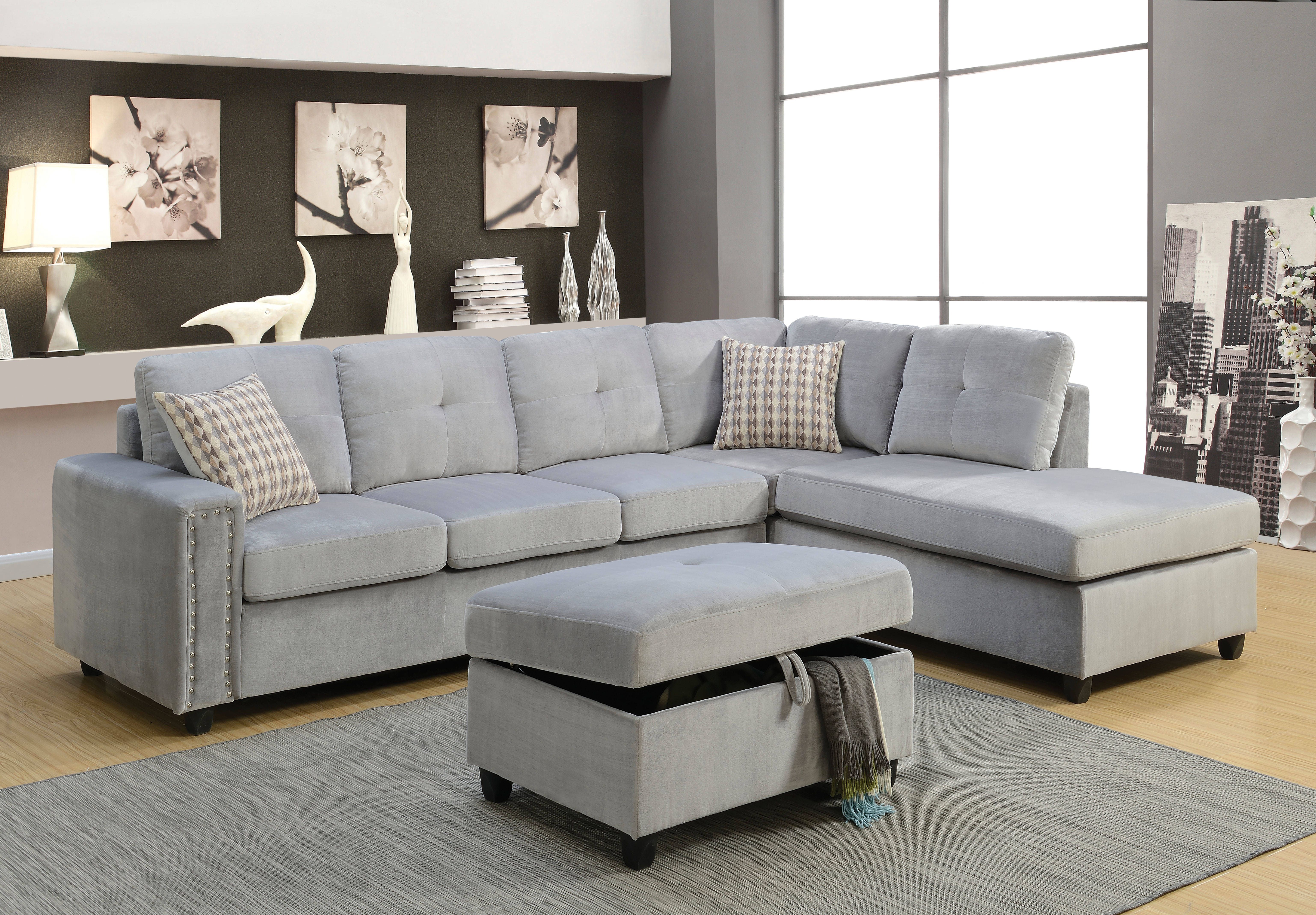 Acme furniture belville gray reversible sectional sofa for Mason grey sectional sofa