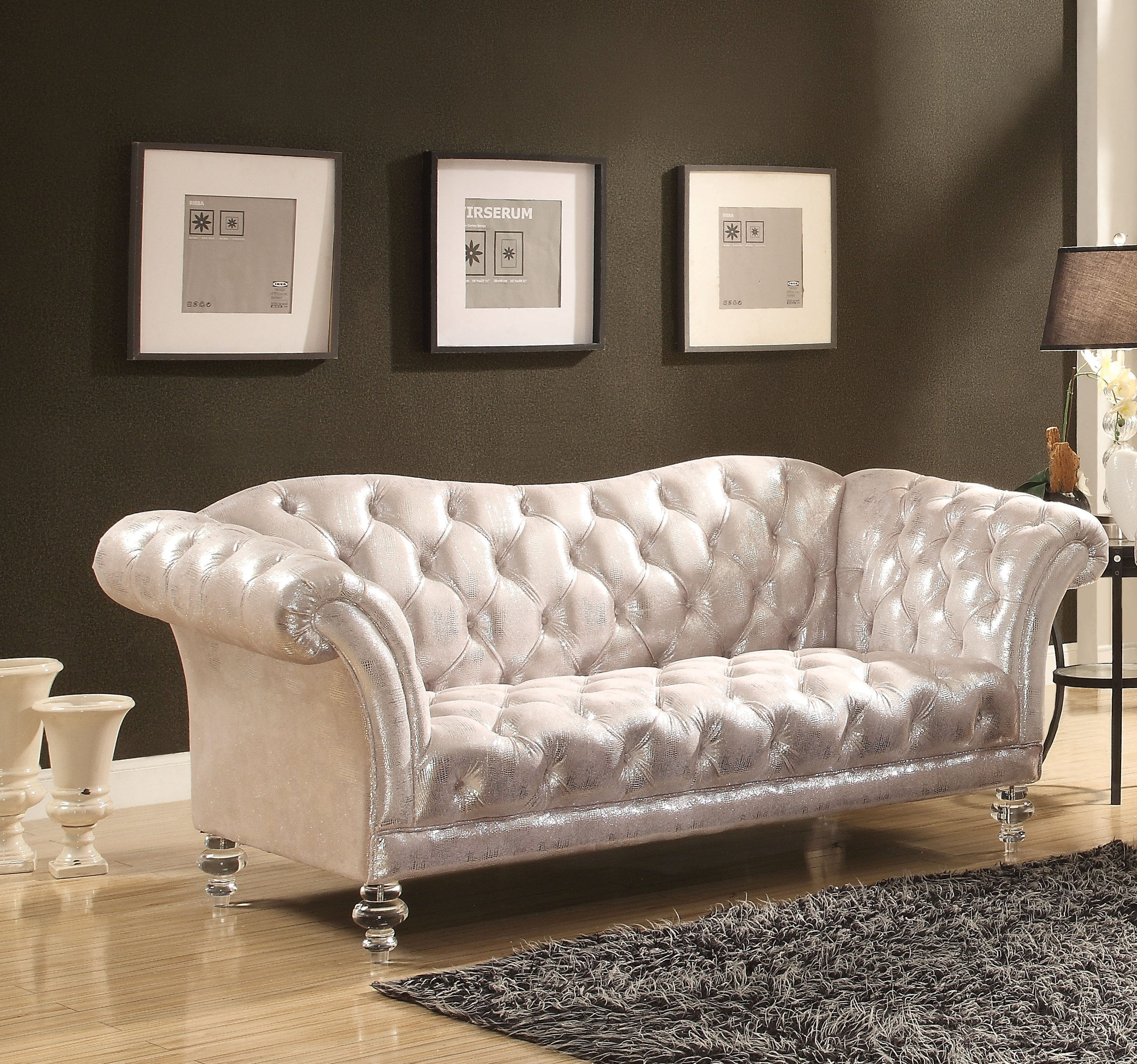 Acme Furniture Dixie Silver Loveseat Click To Enlarge ...