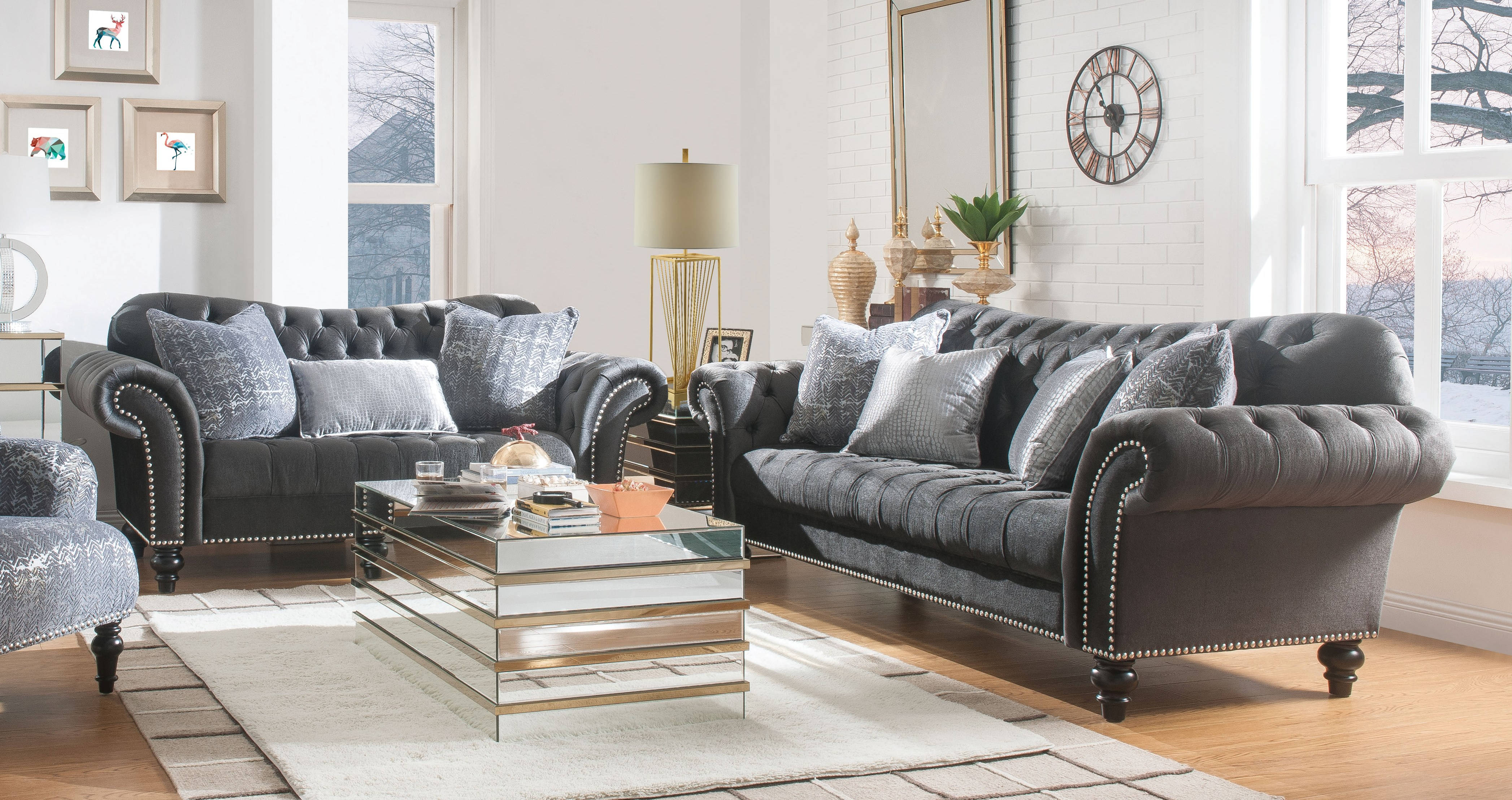 Gaura Dark Gray 2pc Living Room Set