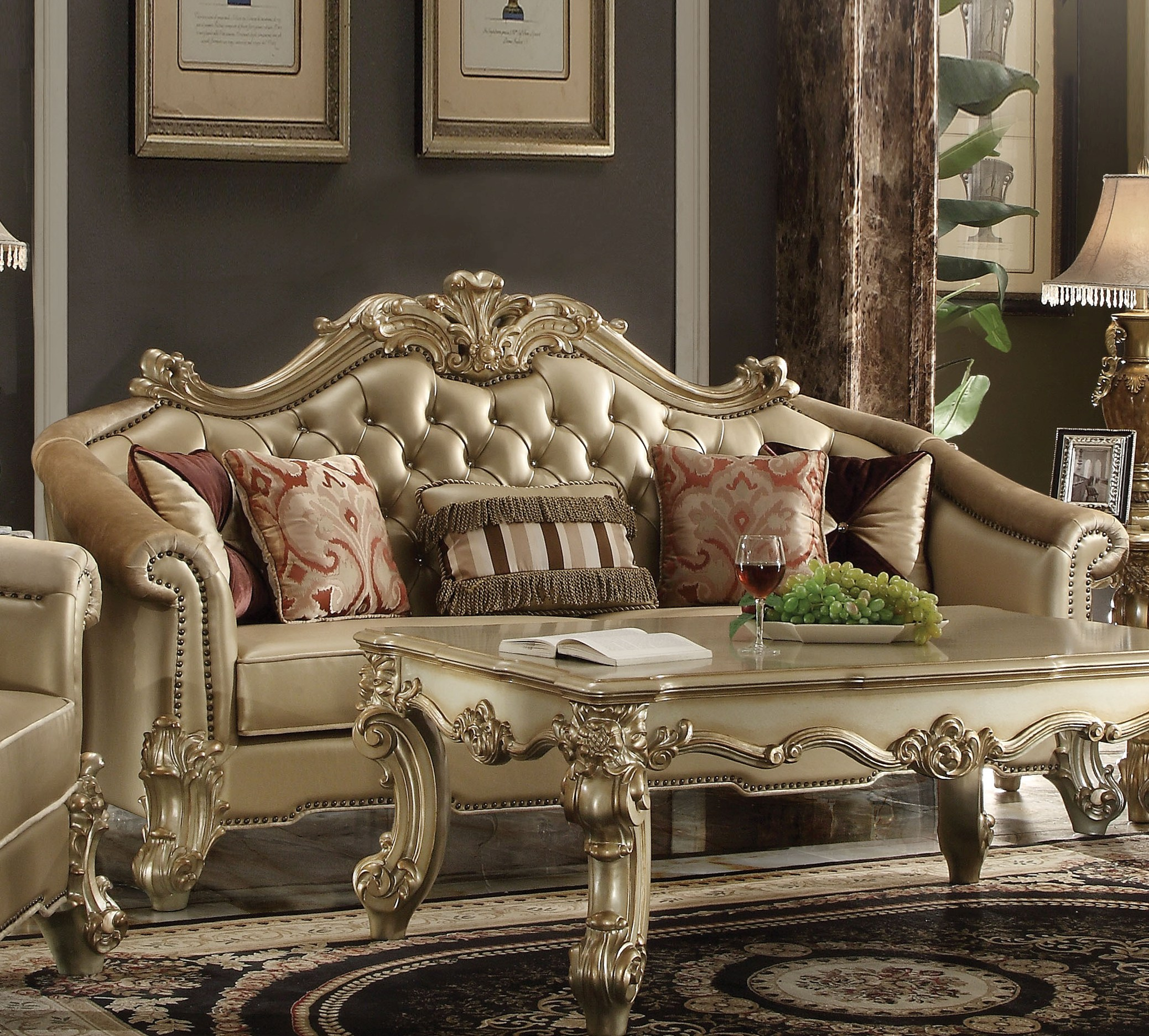 Tremendous Acme Furniture Vendome Ii Gold Sofa With Five Pillows Home Interior And Landscaping Dextoversignezvosmurscom
