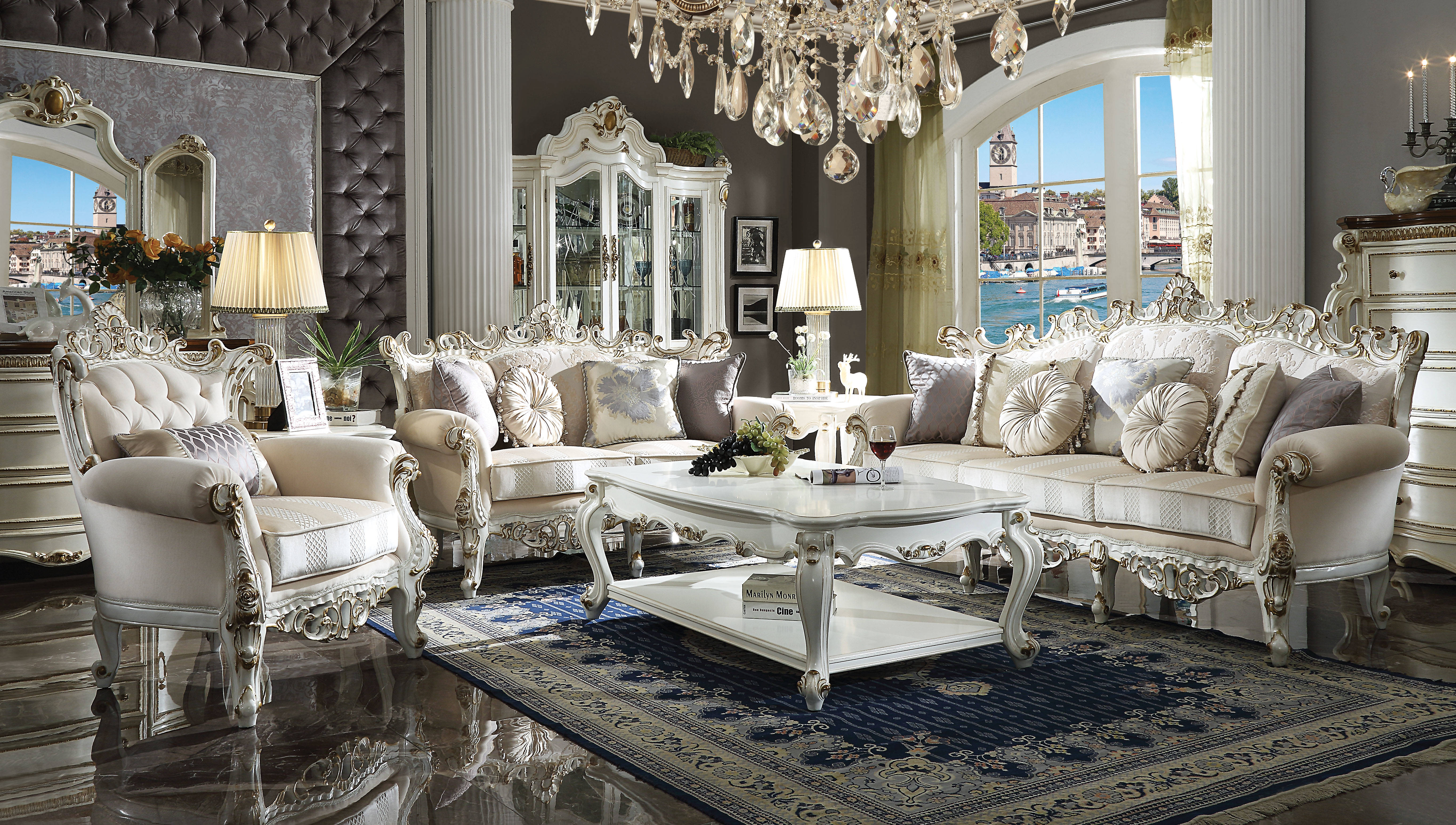 Acme Furniture Picardy II Antique Pearl 3pc Living Room Set