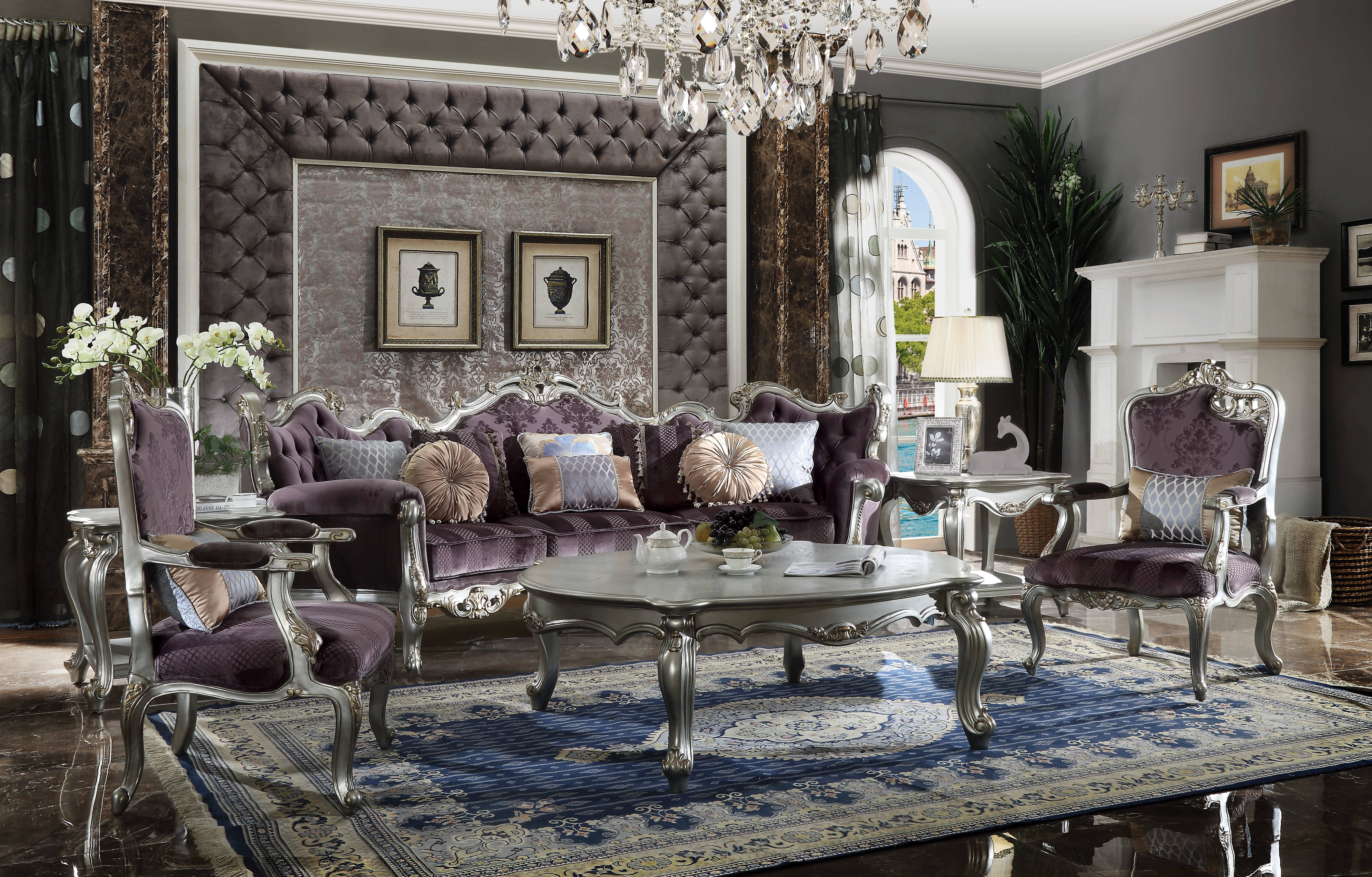 Swell Acme Furniture Picardy Antique Platinum 4Pc Living Room Set Home Interior And Landscaping Ponolsignezvosmurscom