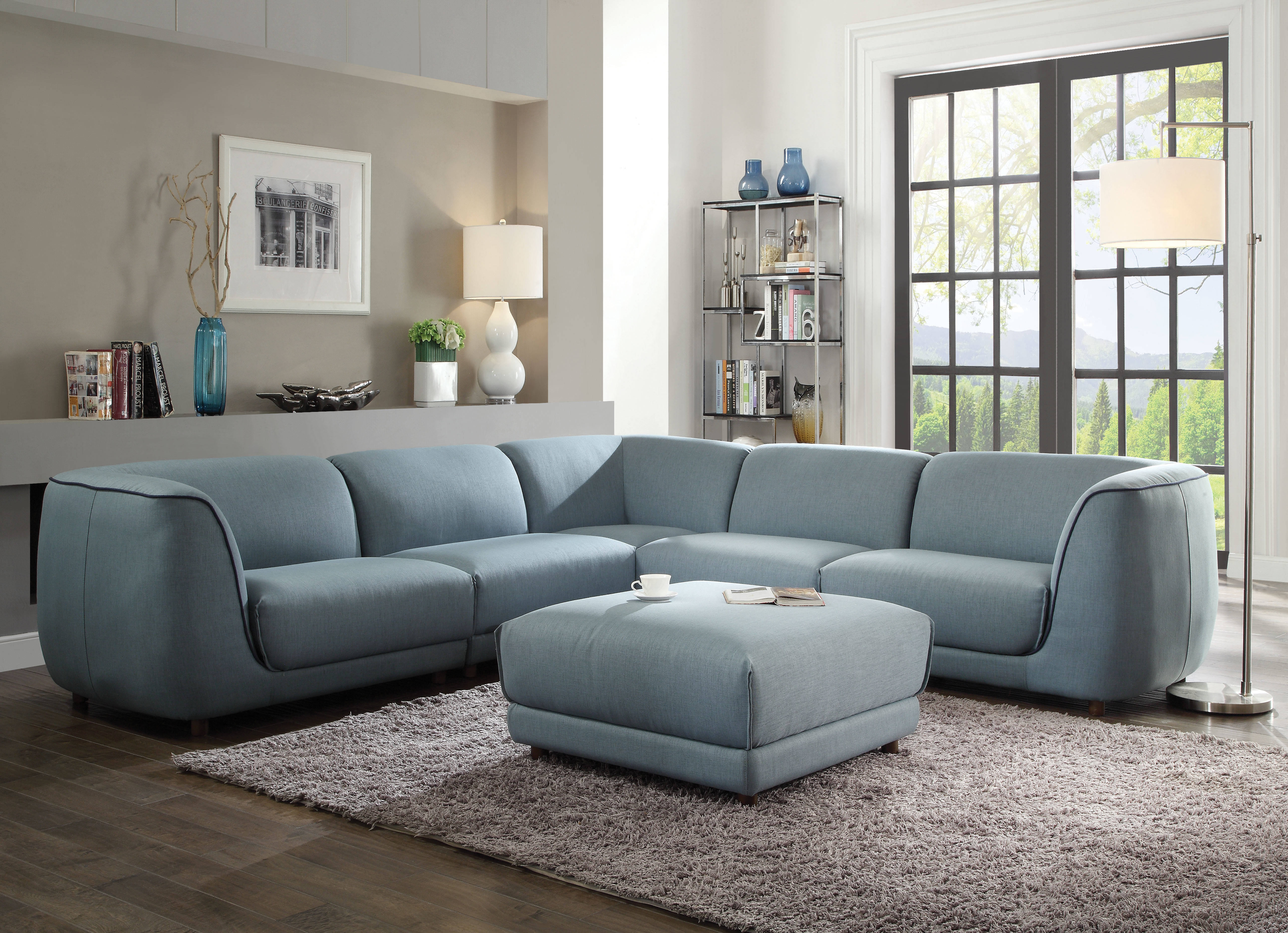 Super Acme Furniture Adina Light Blue Sectional Sofa With Ottoman Ncnpc Chair Design For Home Ncnpcorg