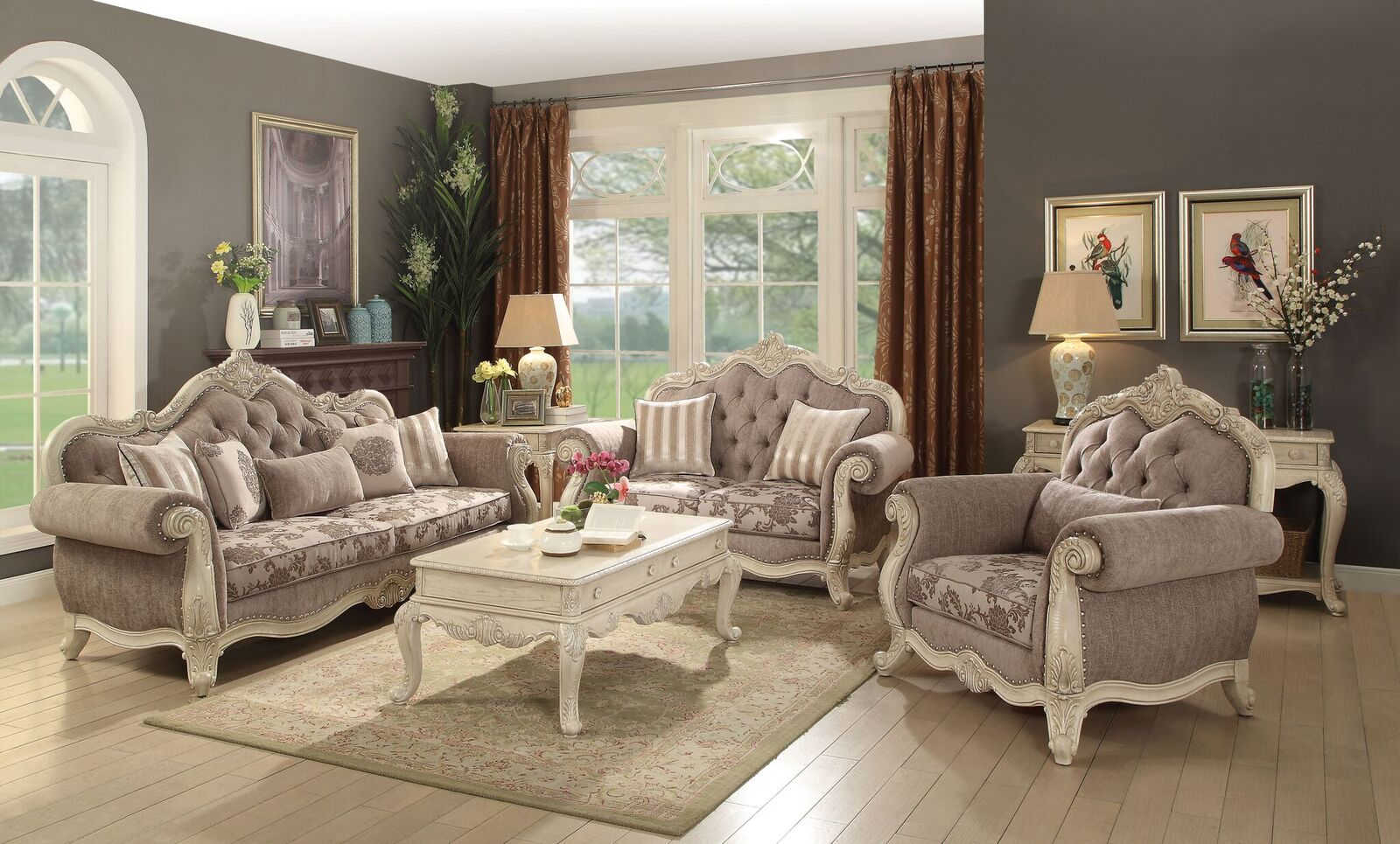 Acme Furniture Ragenardus Gray Antique White 3pc Living Room Set