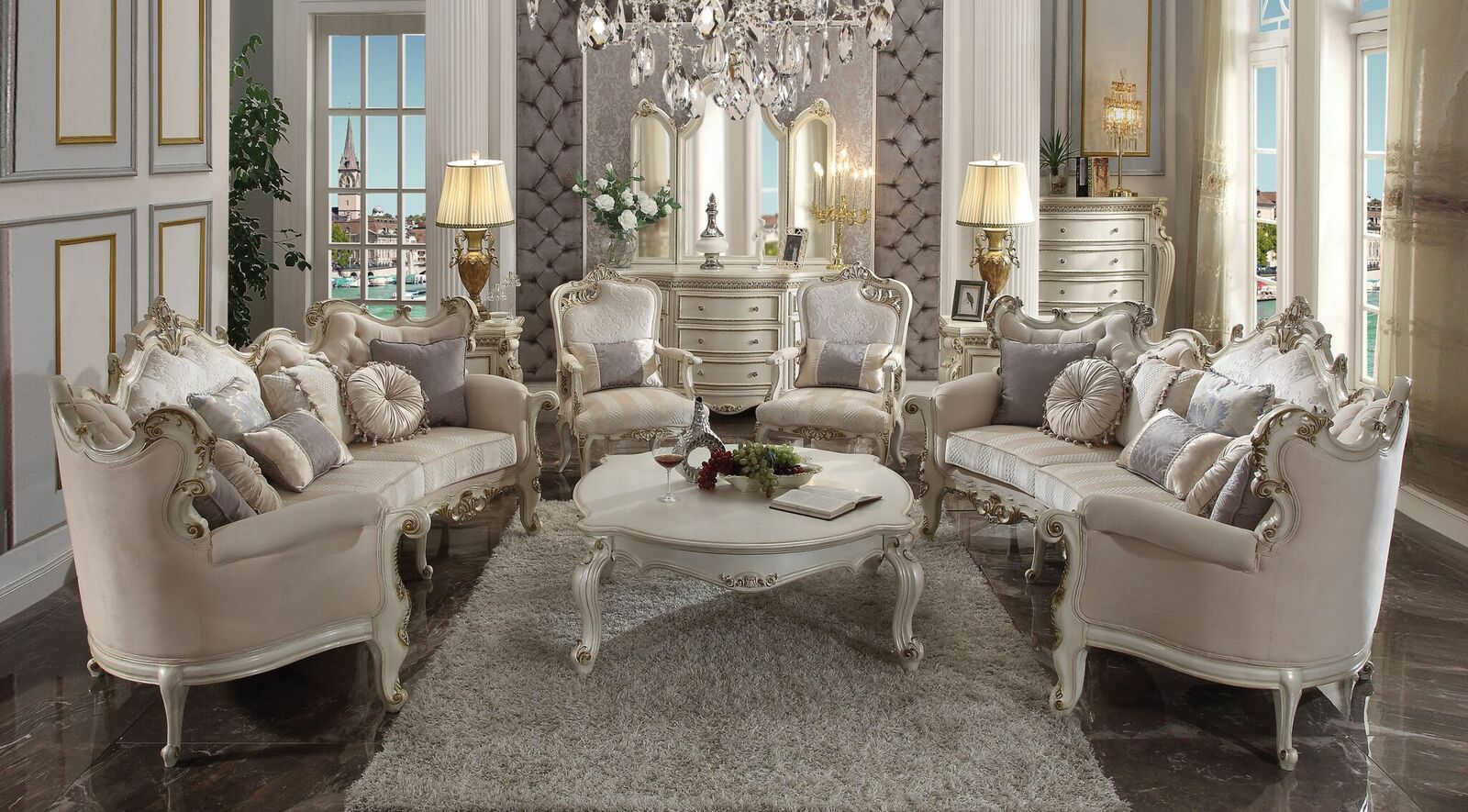 Acme Furniture Picardy Antique Pearl 4pc Living Room Set The