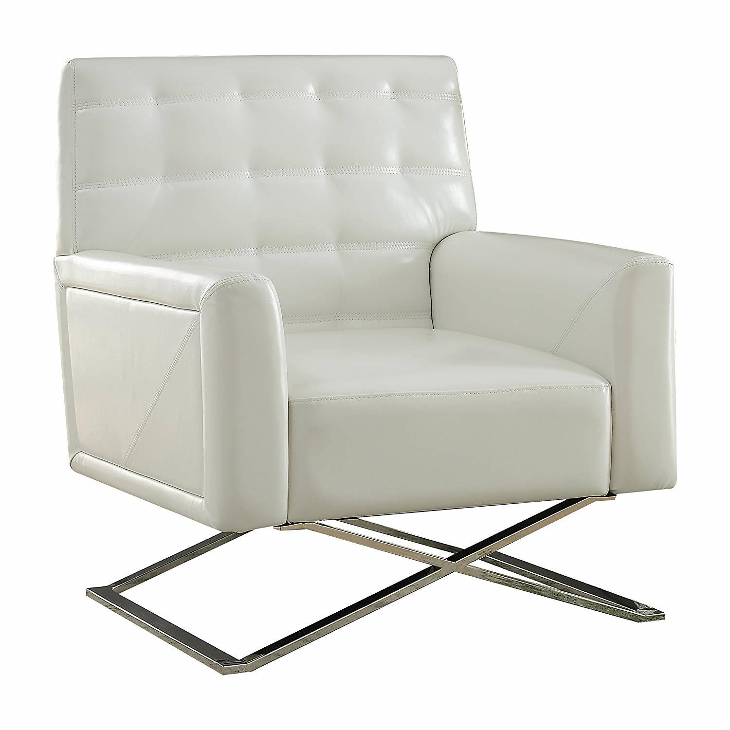 Excellent Acme Furniture Rafael White Tufted Back Accent Chair Ibusinesslaw Wood Chair Design Ideas Ibusinesslaworg