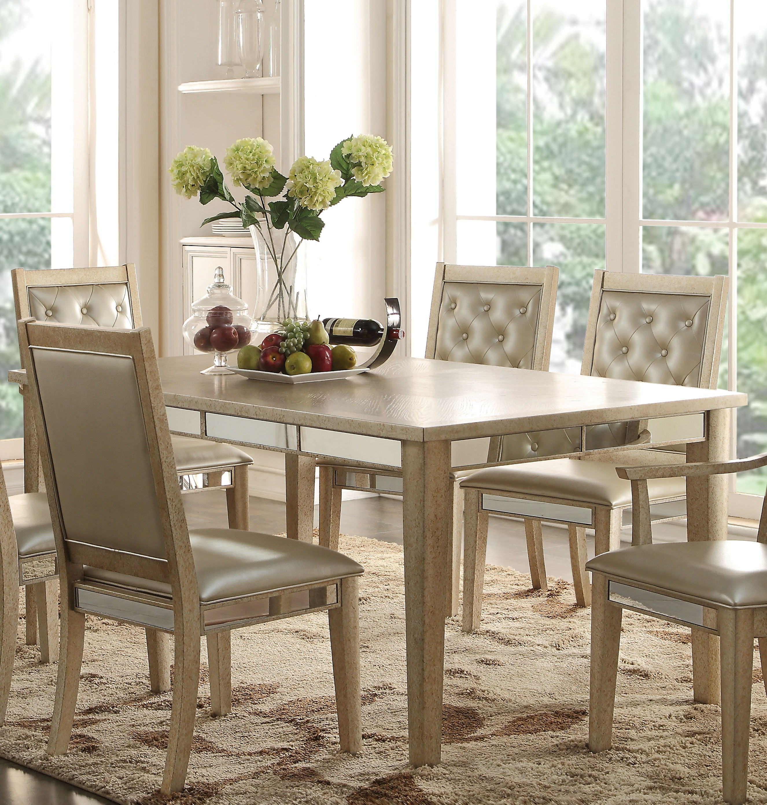 acme furniture voeville antique white dining table the classy home. Black Bedroom Furniture Sets. Home Design Ideas