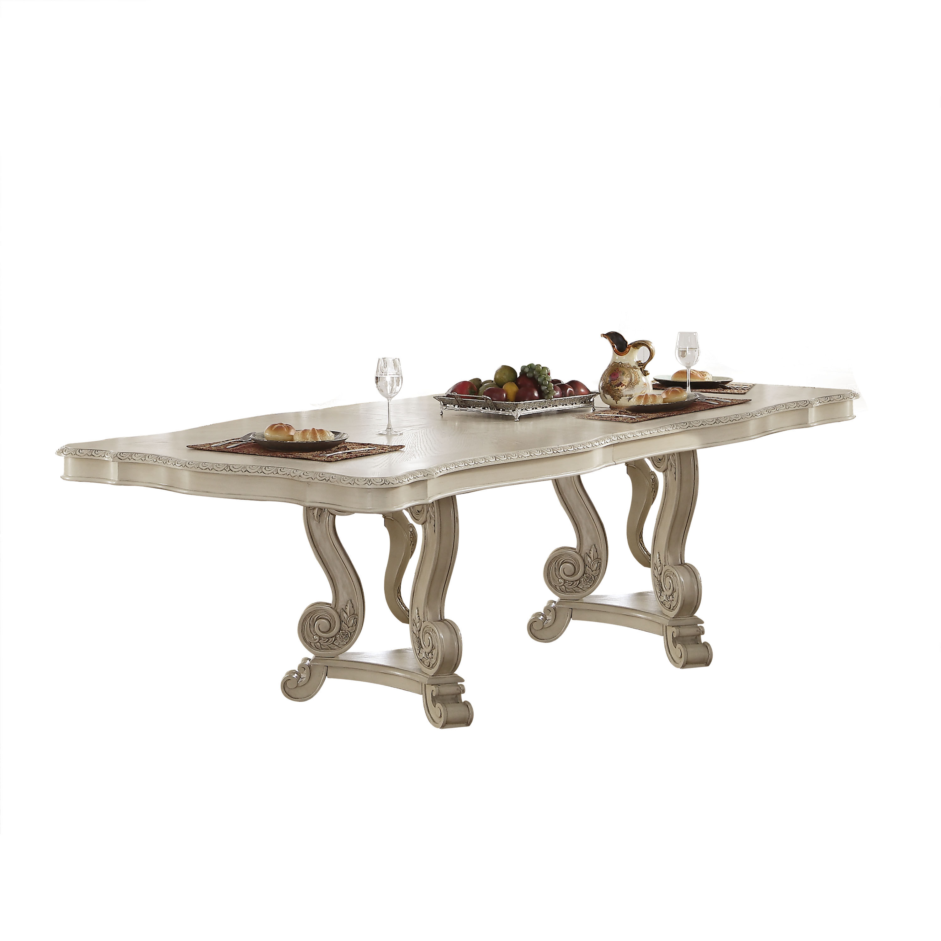 Acme Furniture Ragenardus Antique White Double Pedestal Dining Table