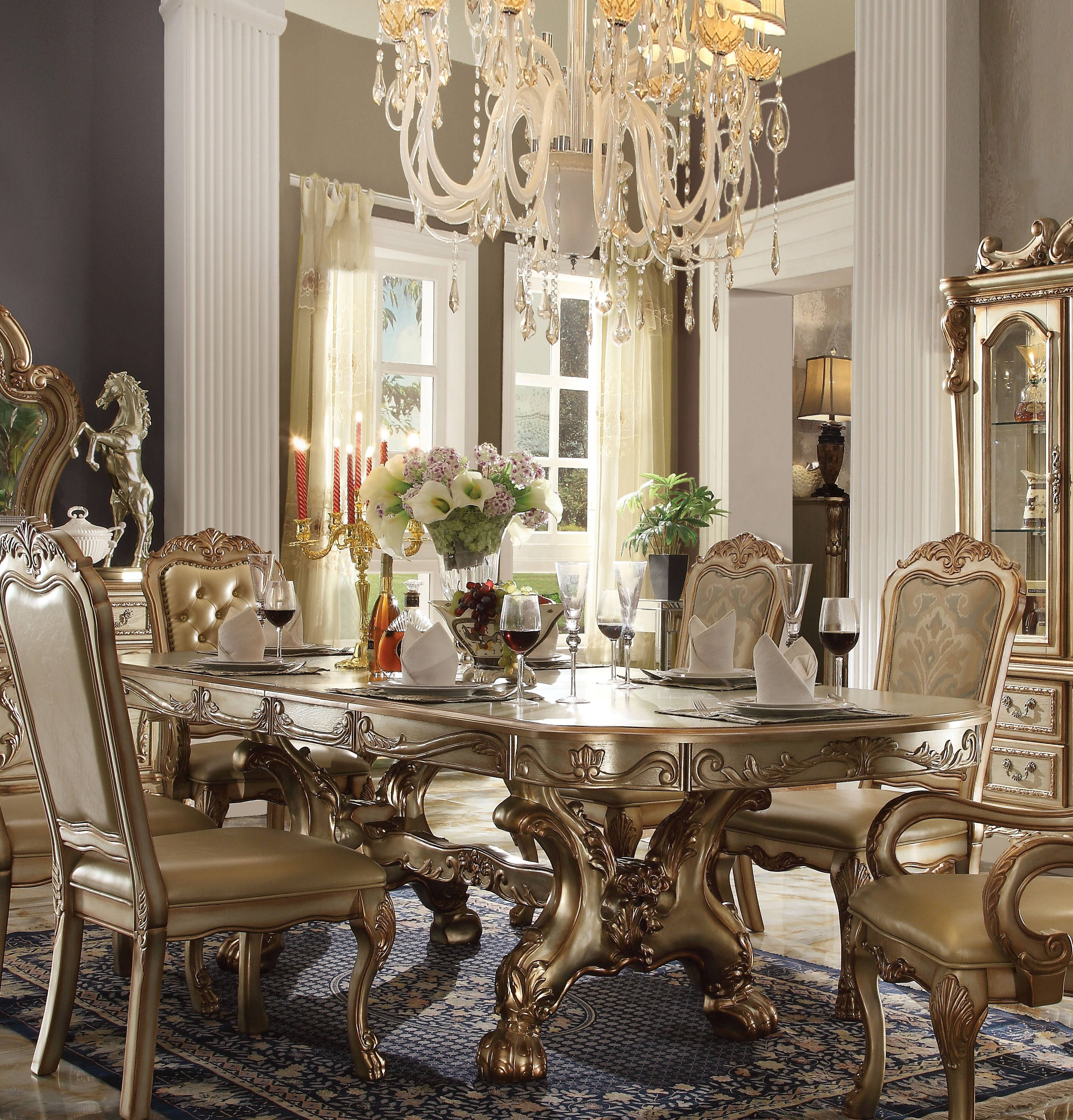 Acme Furniture Dresden Gold Patina Dining Table Click To Enlarge