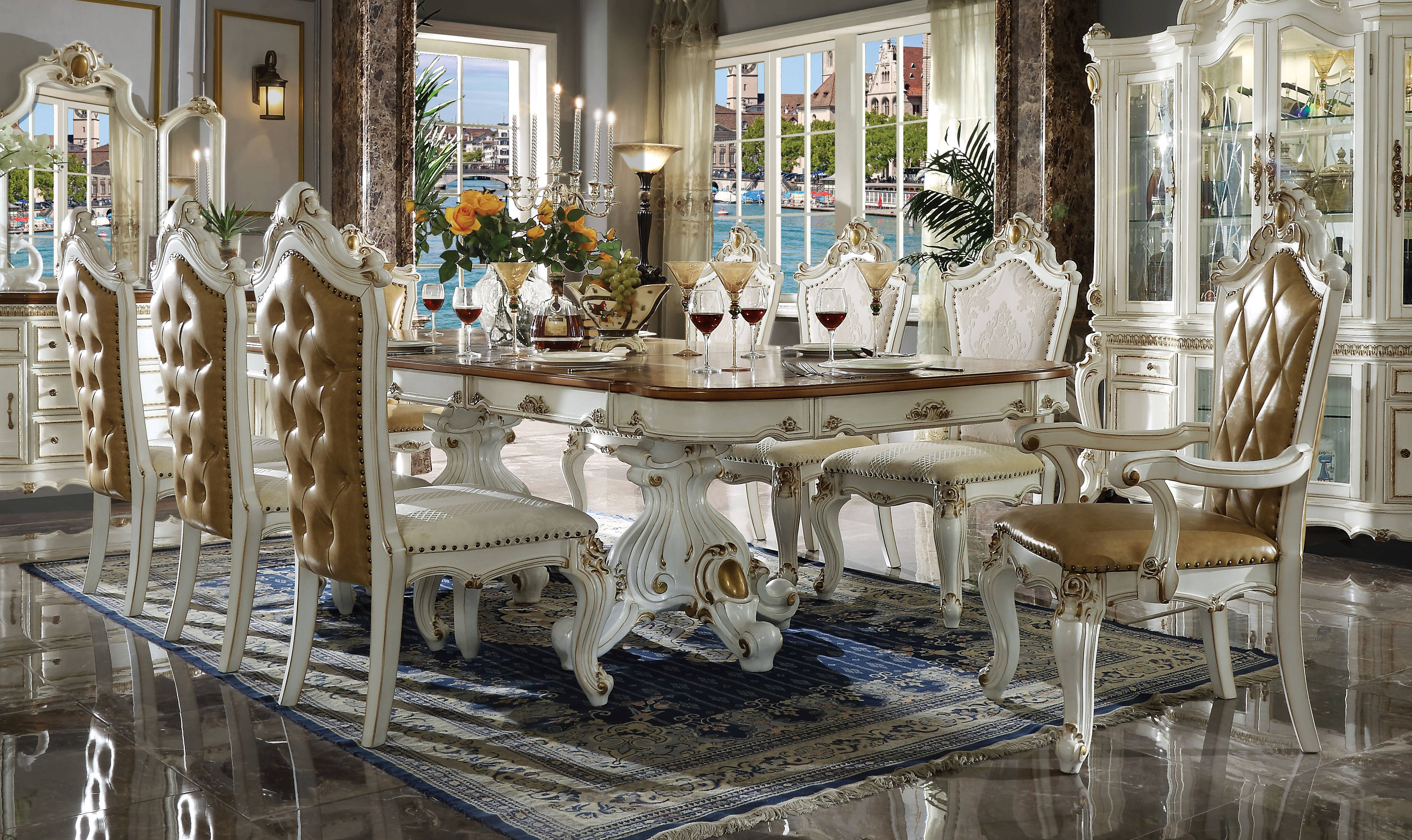 acme furniture picardy antique pearl 9pc dining room set