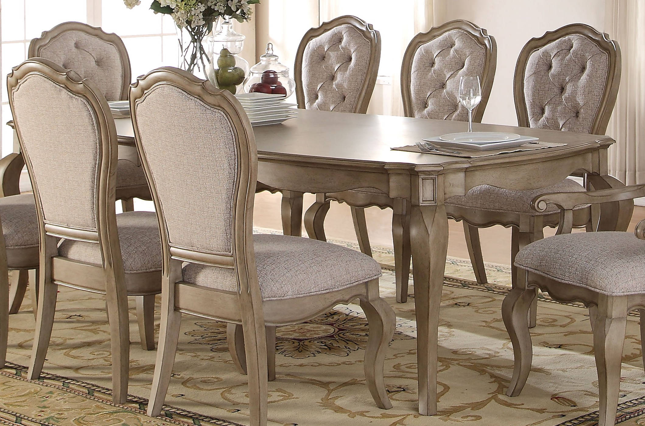 Acme Furniture Chelmsford Antique Taupe Dining Table Click To Enlarge