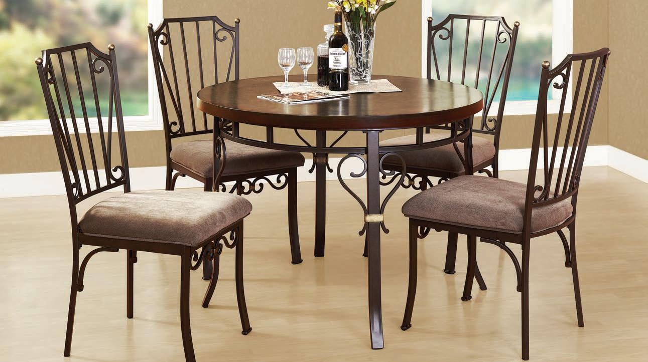 Barry casual walnut wood metal fabric dinning room sets for Best deals on dining room sets