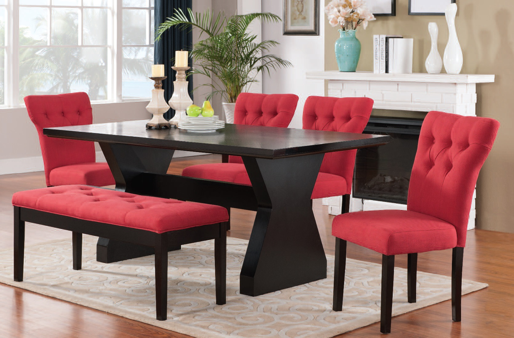 Effie Red Fabric Walnut Espresso Wood 6pc Dining Room Set Click To Enlarge Loading